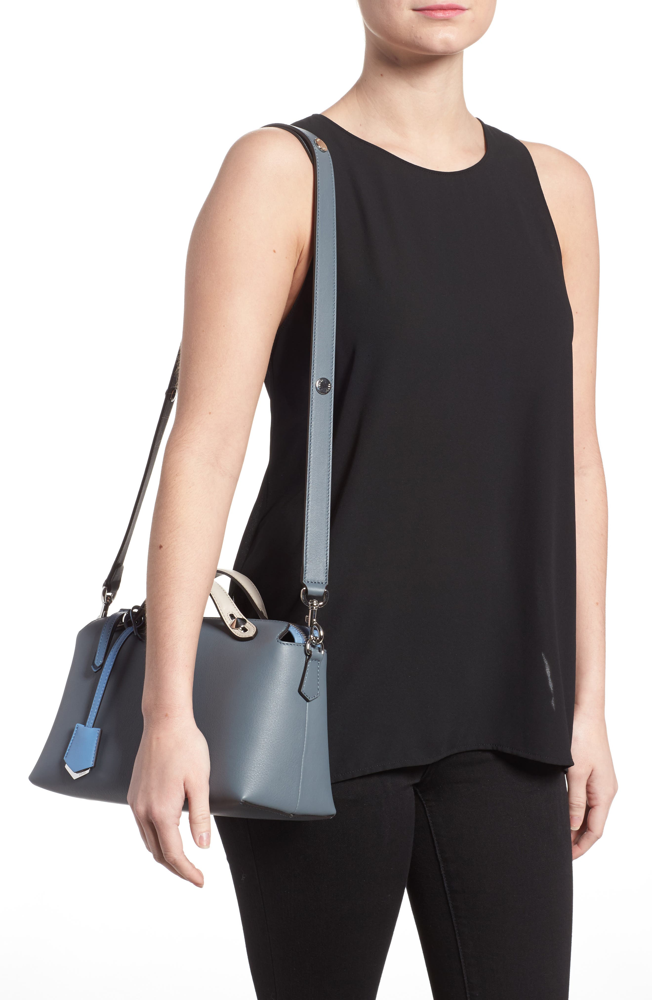 'Medium By the Way' Colorblock Leather Shoulder Bag,                             Alternate thumbnail 2, color,                             Blue