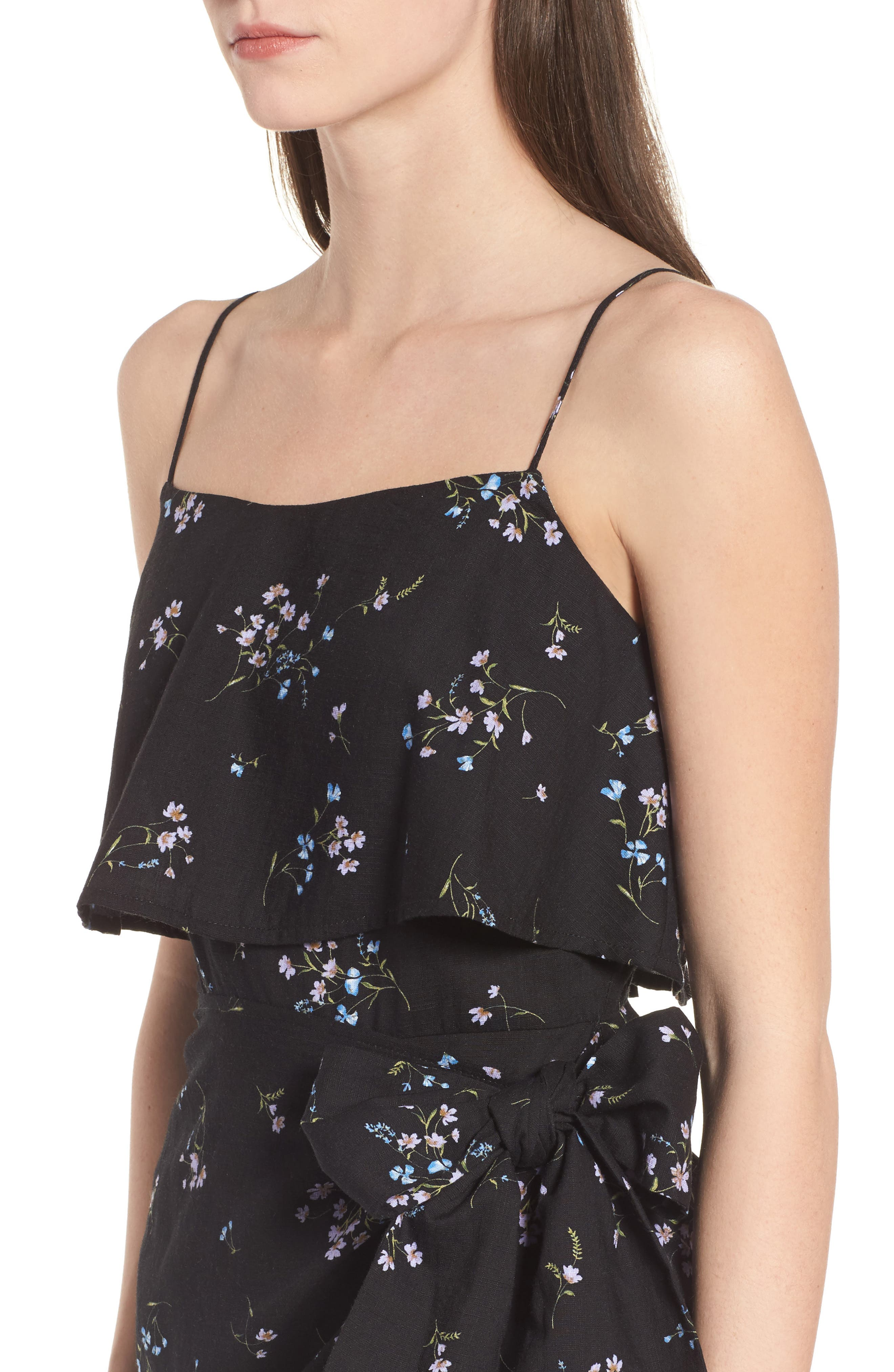 Popover Wrap Front Dress,                             Alternate thumbnail 4, color,                             Black Floral