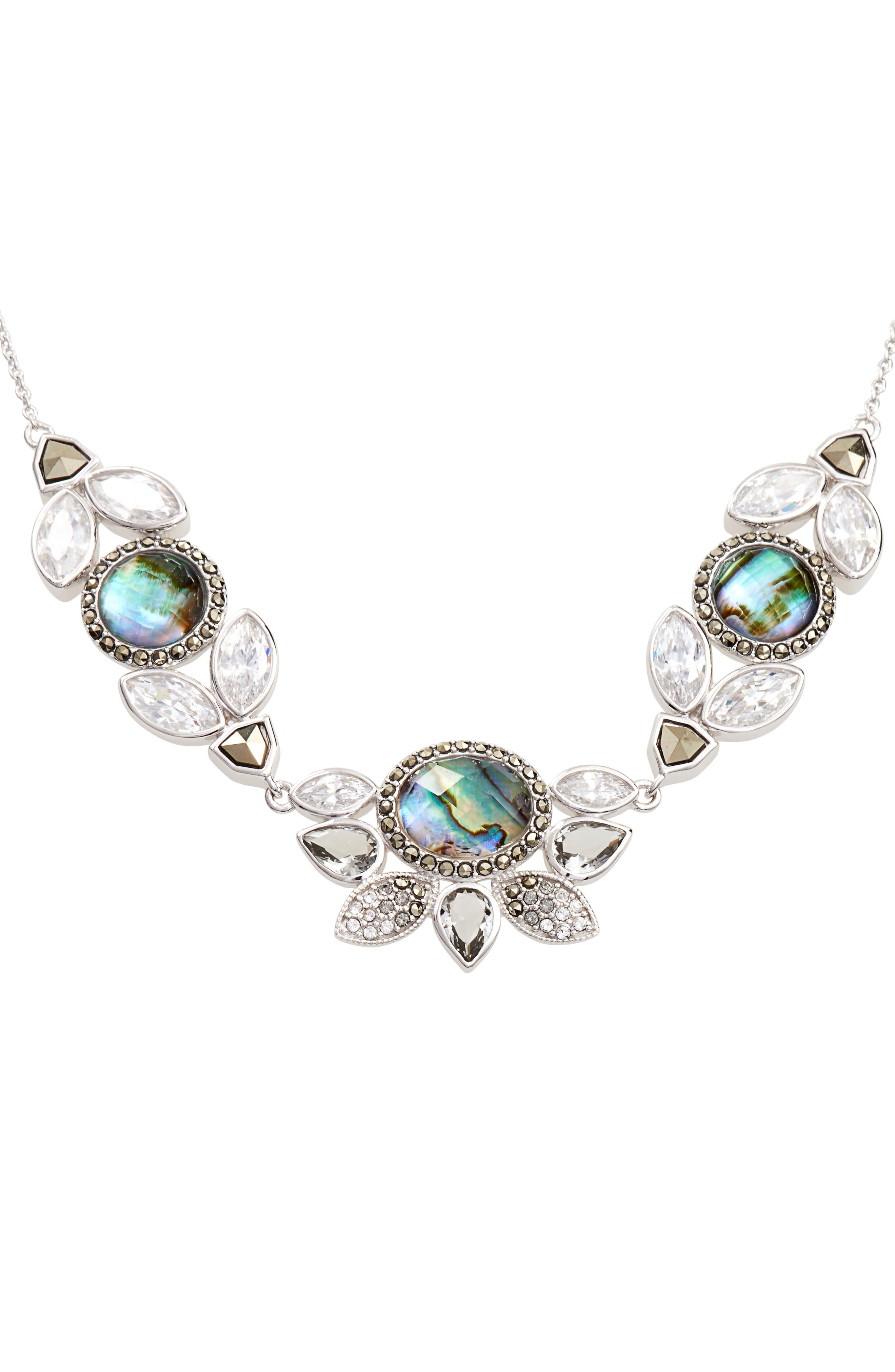 Cluster Frontal Necklace,                             Alternate thumbnail 2, color,                             Abalone/ Silver