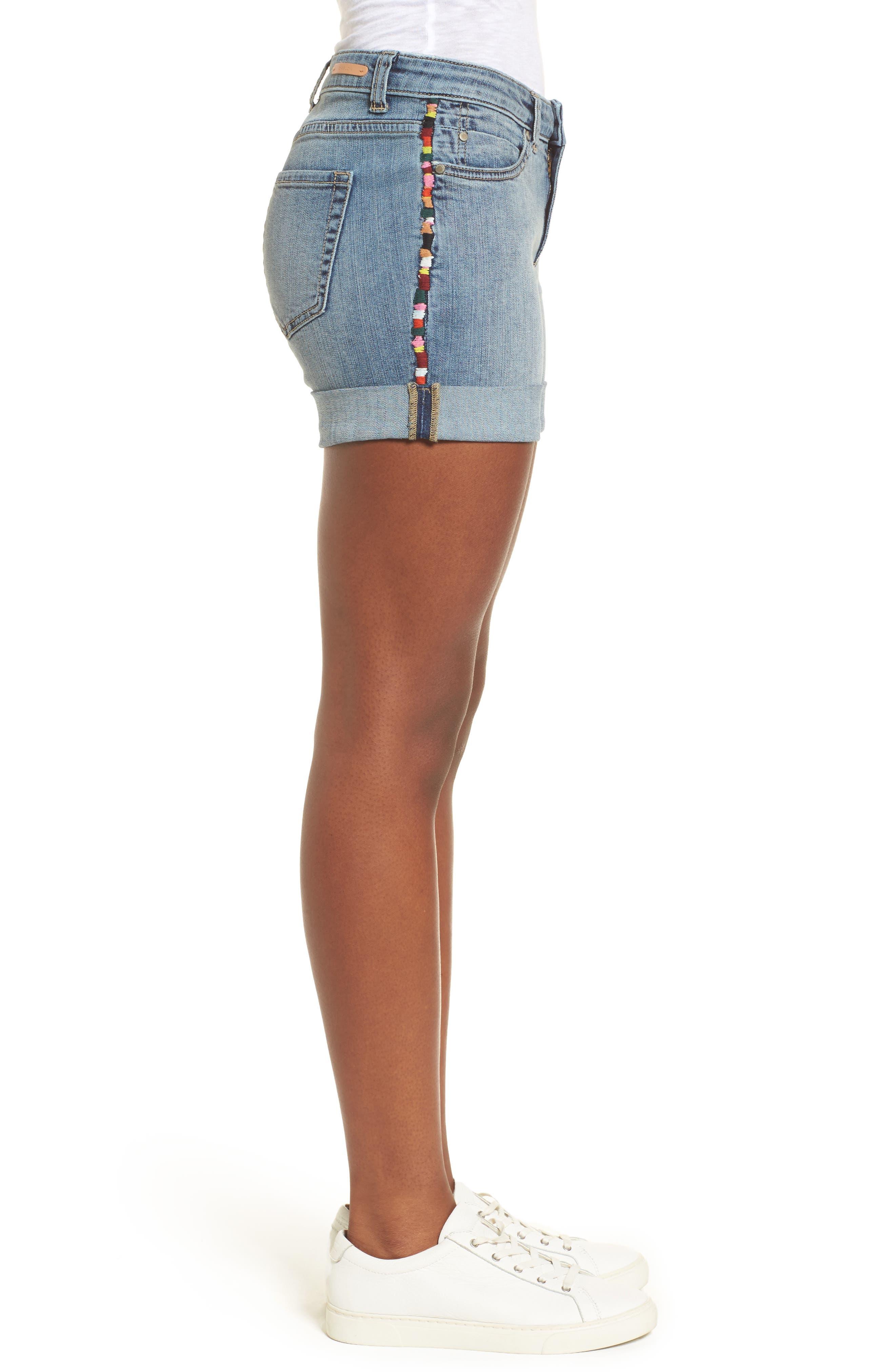Embroidered Seam Boyfriend Denim Shorts,                             Alternate thumbnail 3, color,                             Sunspot Wash