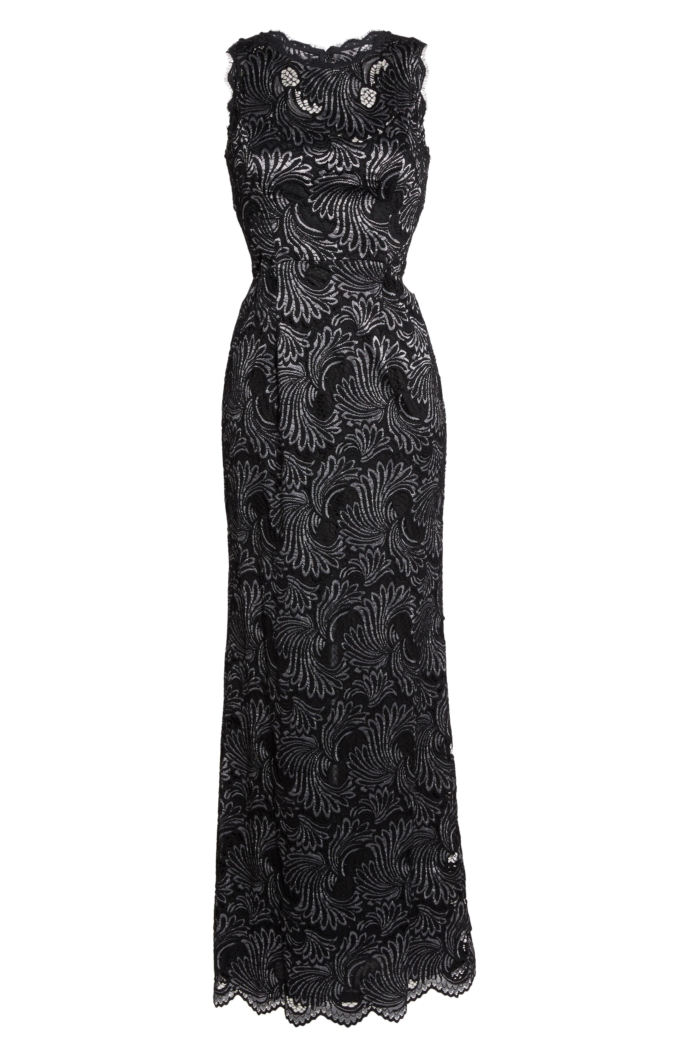 Two-Tone Lace Gown,                             Alternate thumbnail 6, color,                             Black/ Silver