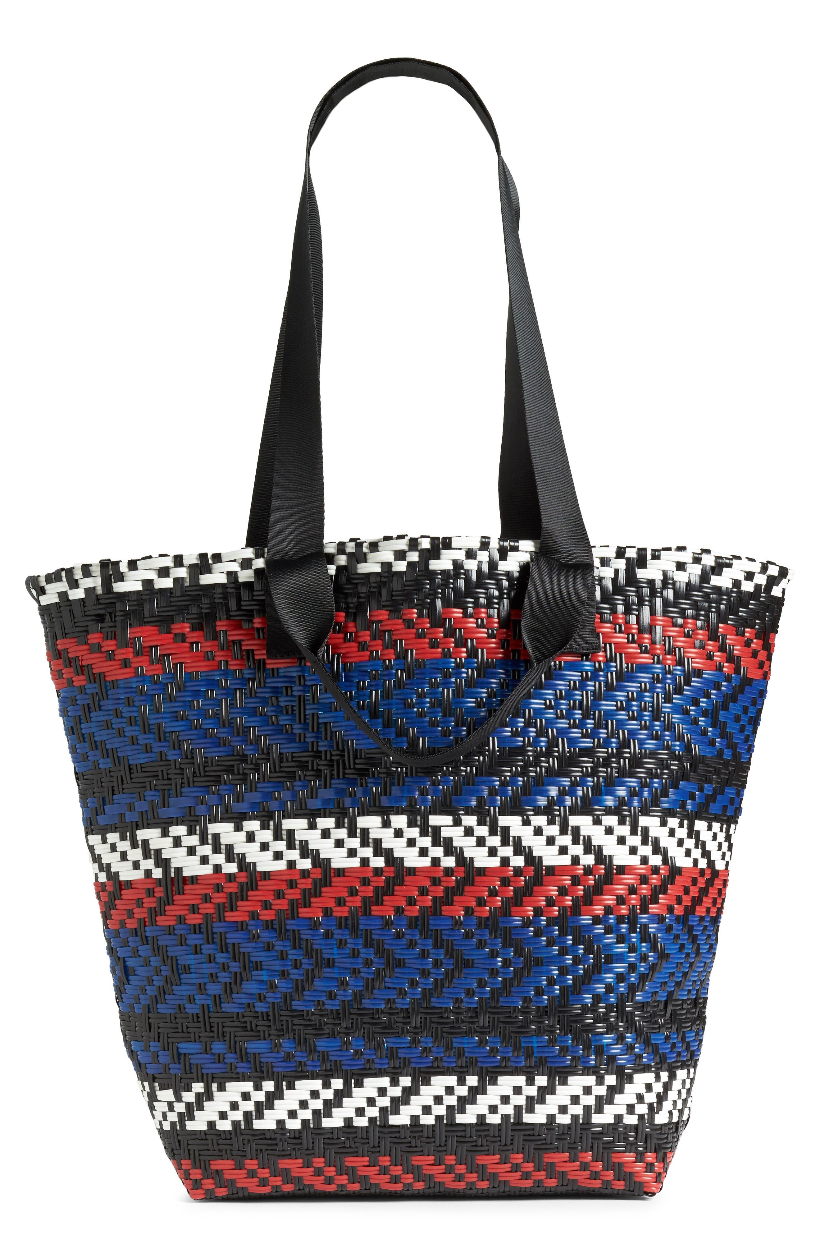 Diagonal Stripe Woven Tote,                         Main,                         color, Multi