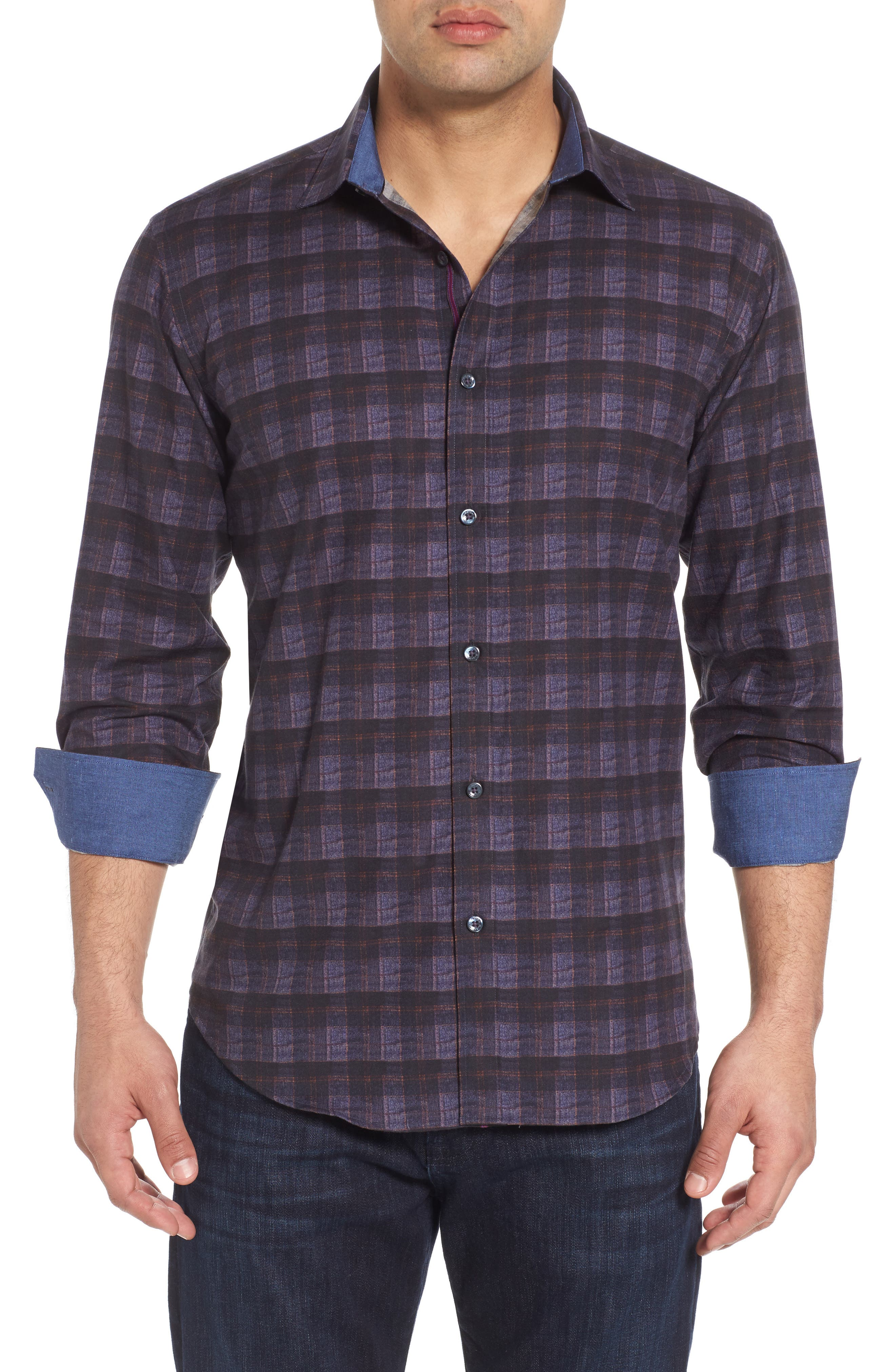 Trim Fit Check Sport Shirt,                         Main,                         color, Midnight