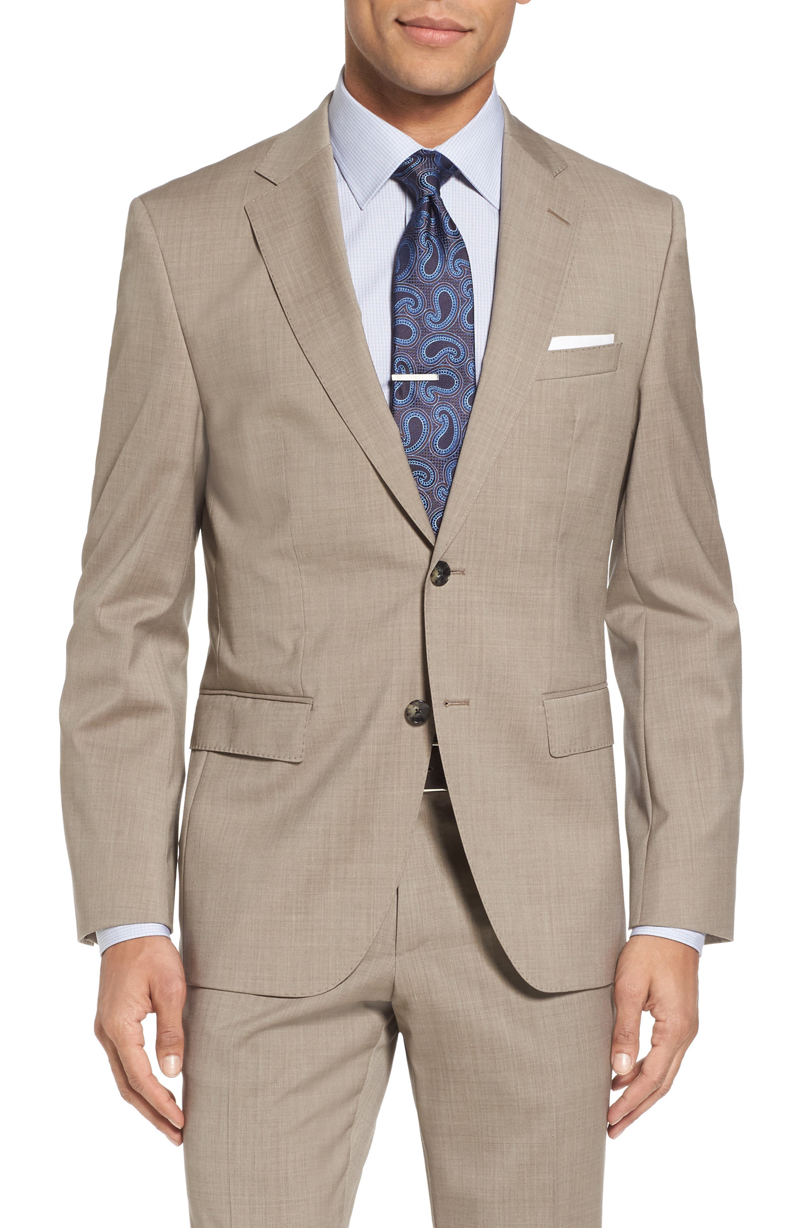 Johnstons/Lenon Classic Fit Solid Wool Suit,                             Alternate thumbnail 6, color,                             Medium Beige