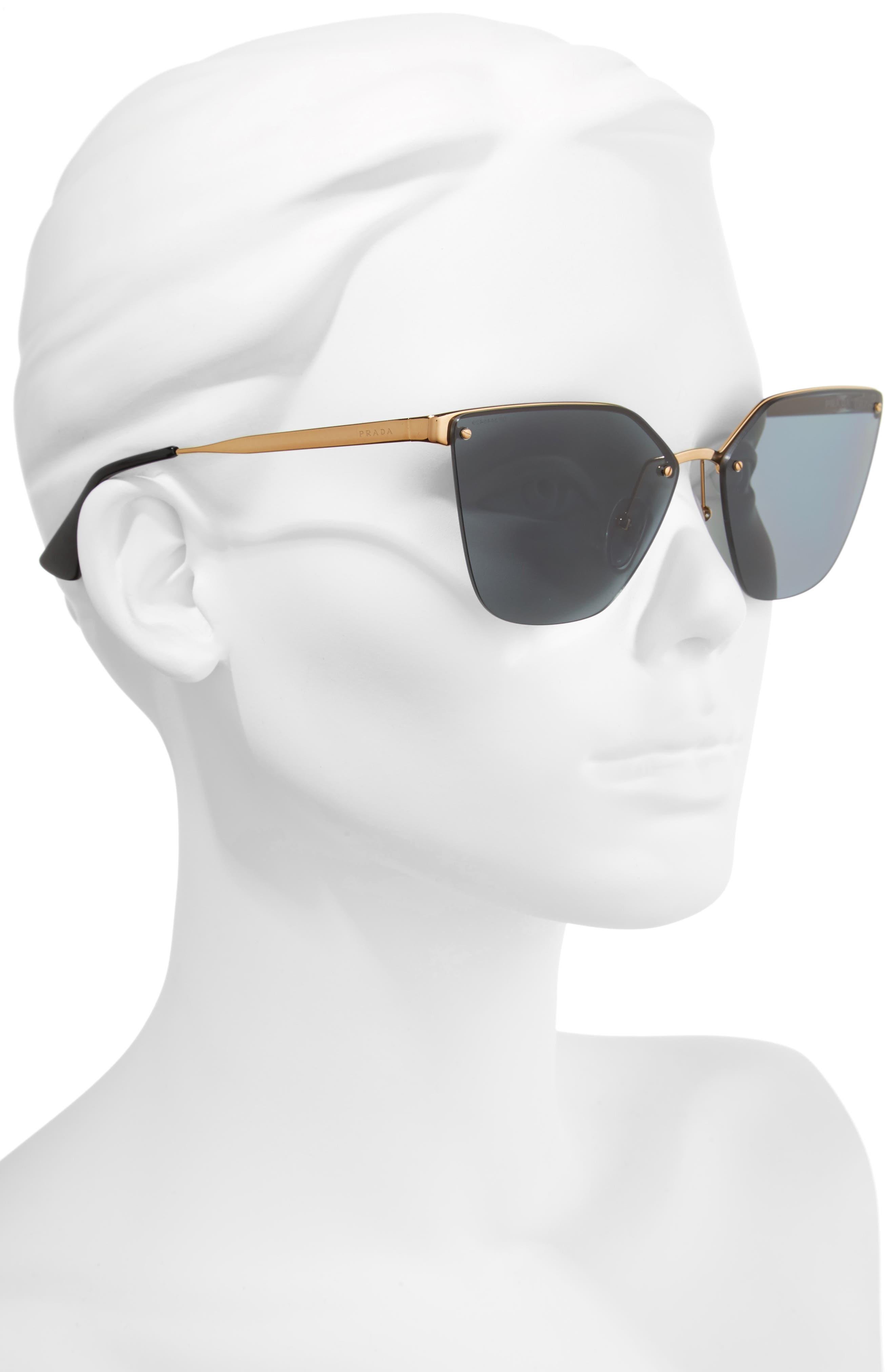 63mm Oversize Rimless Sunglasses,                             Alternate thumbnail 2, color,                             Black/ Green