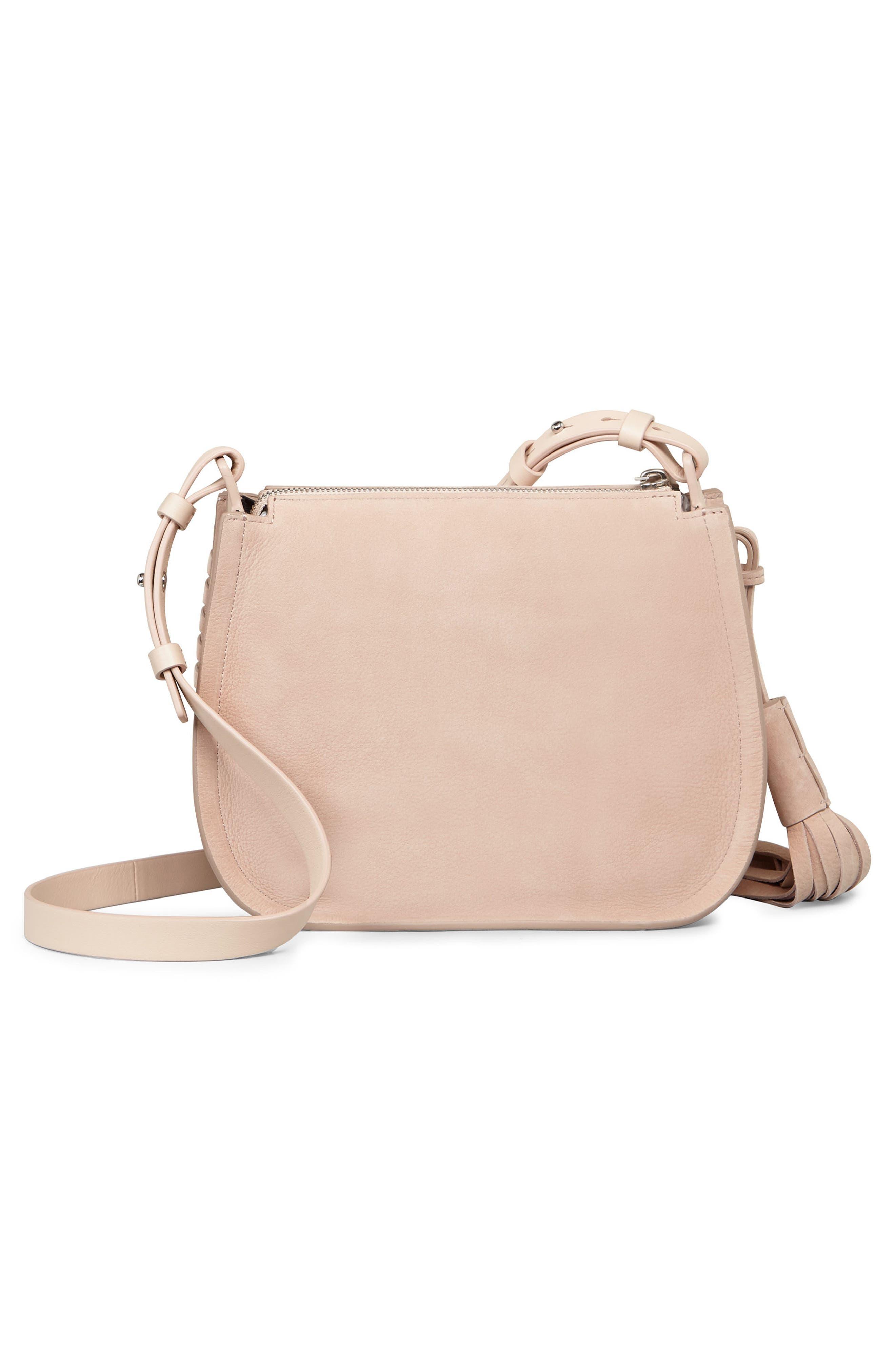 Mori Suede Crossbody Bag,                             Alternate thumbnail 3, color,                             Nude Pink