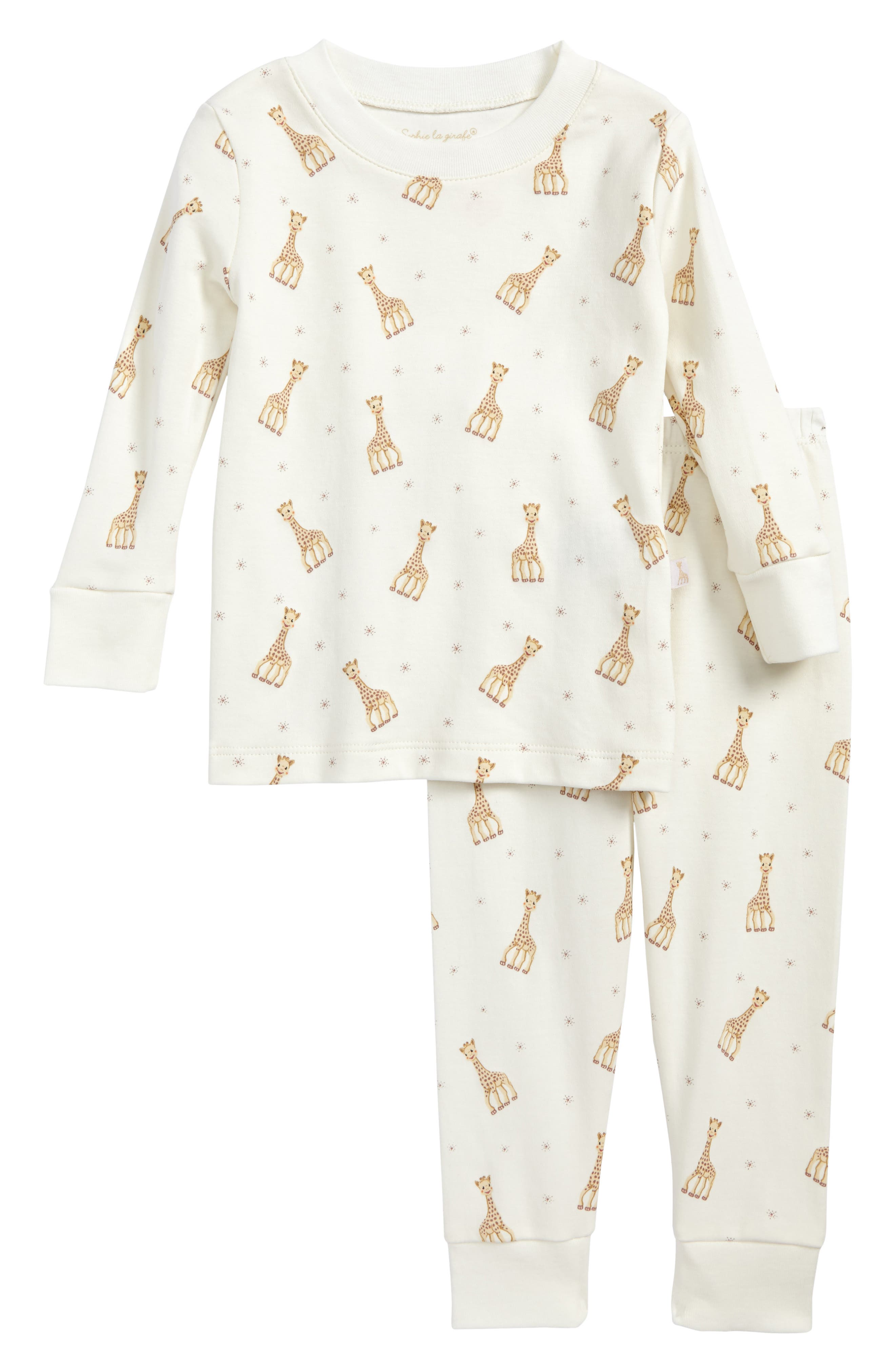 Sophie la Girafe Fitted Two-Piece Pajamas,                             Main thumbnail 1, color,                             Ecru Print
