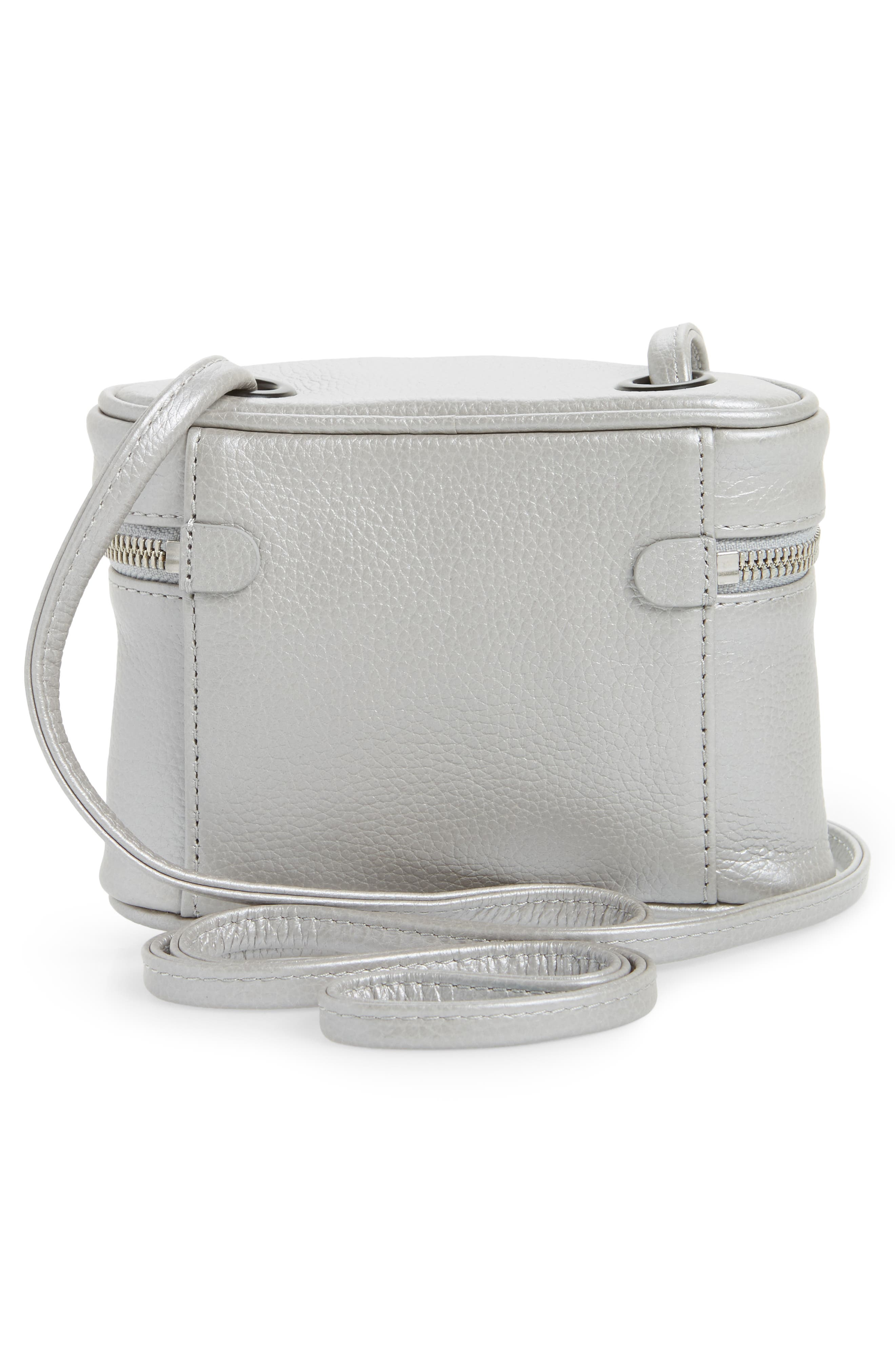 Greenwood Autumn Leather Crossbody Bag,                             Alternate thumbnail 3, color,                             Silver