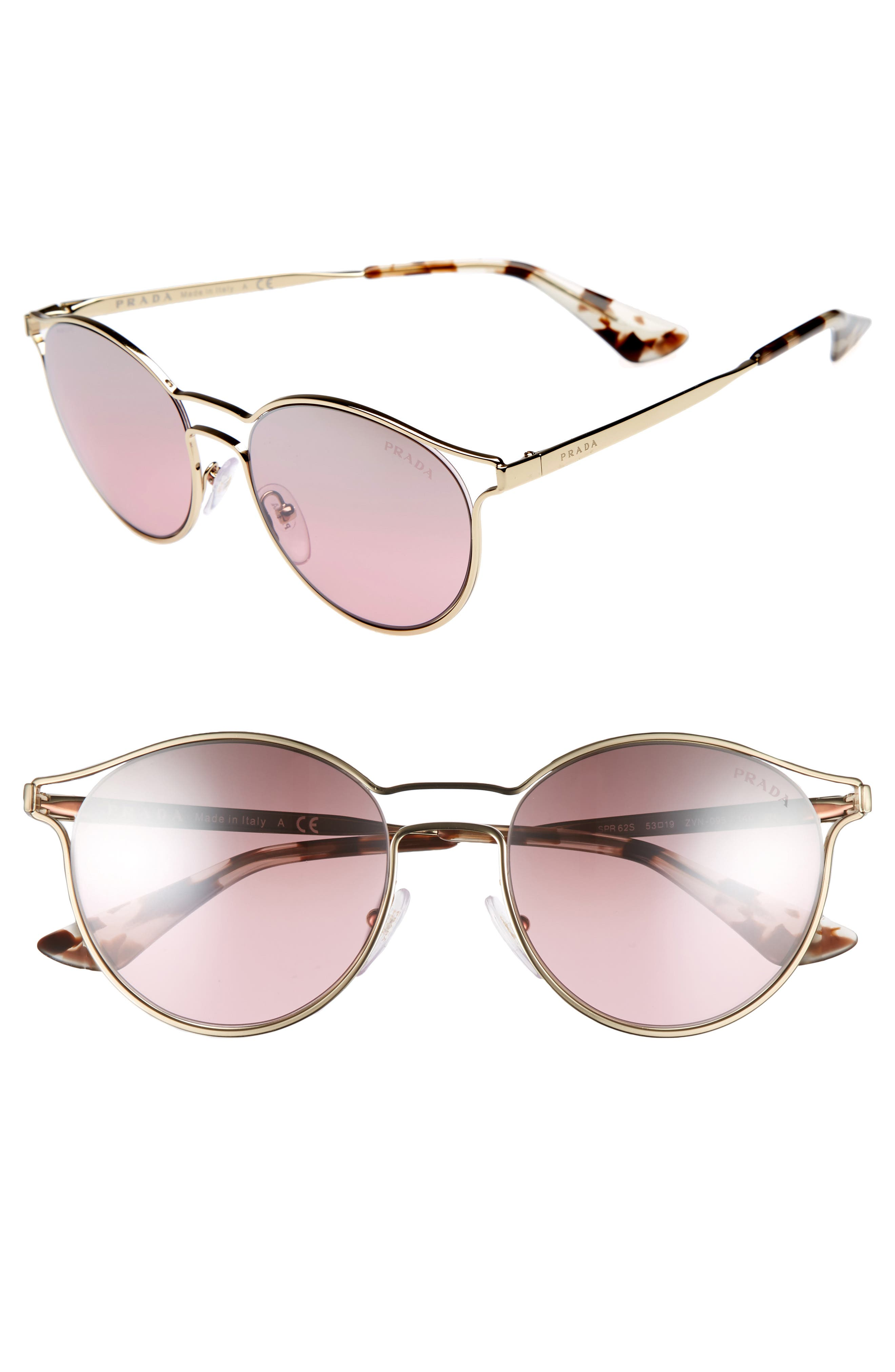 53mm Round Mirrored Sunglasses,                             Main thumbnail 1, color,                             Pale Gold