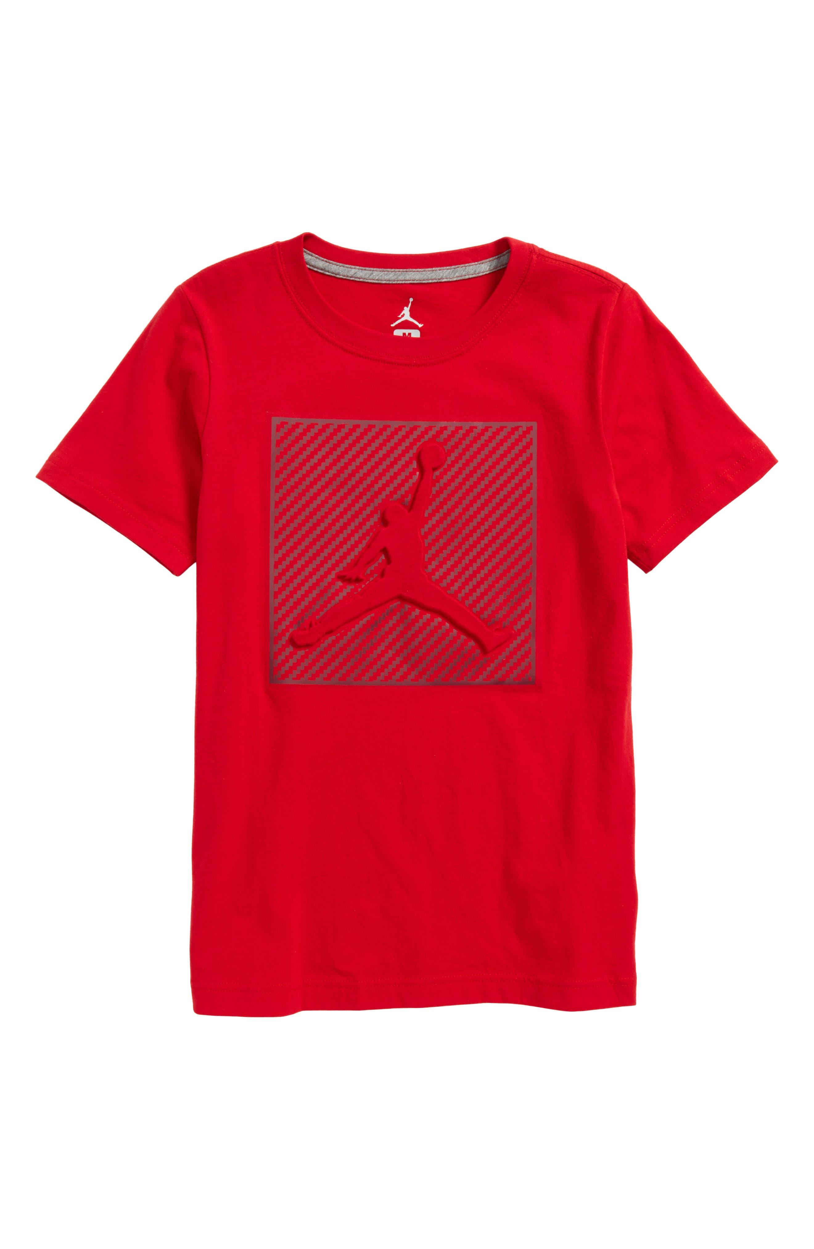Jordan AJ Emboss Carbon T-Shirt,                             Main thumbnail 1, color,                             Gym Red