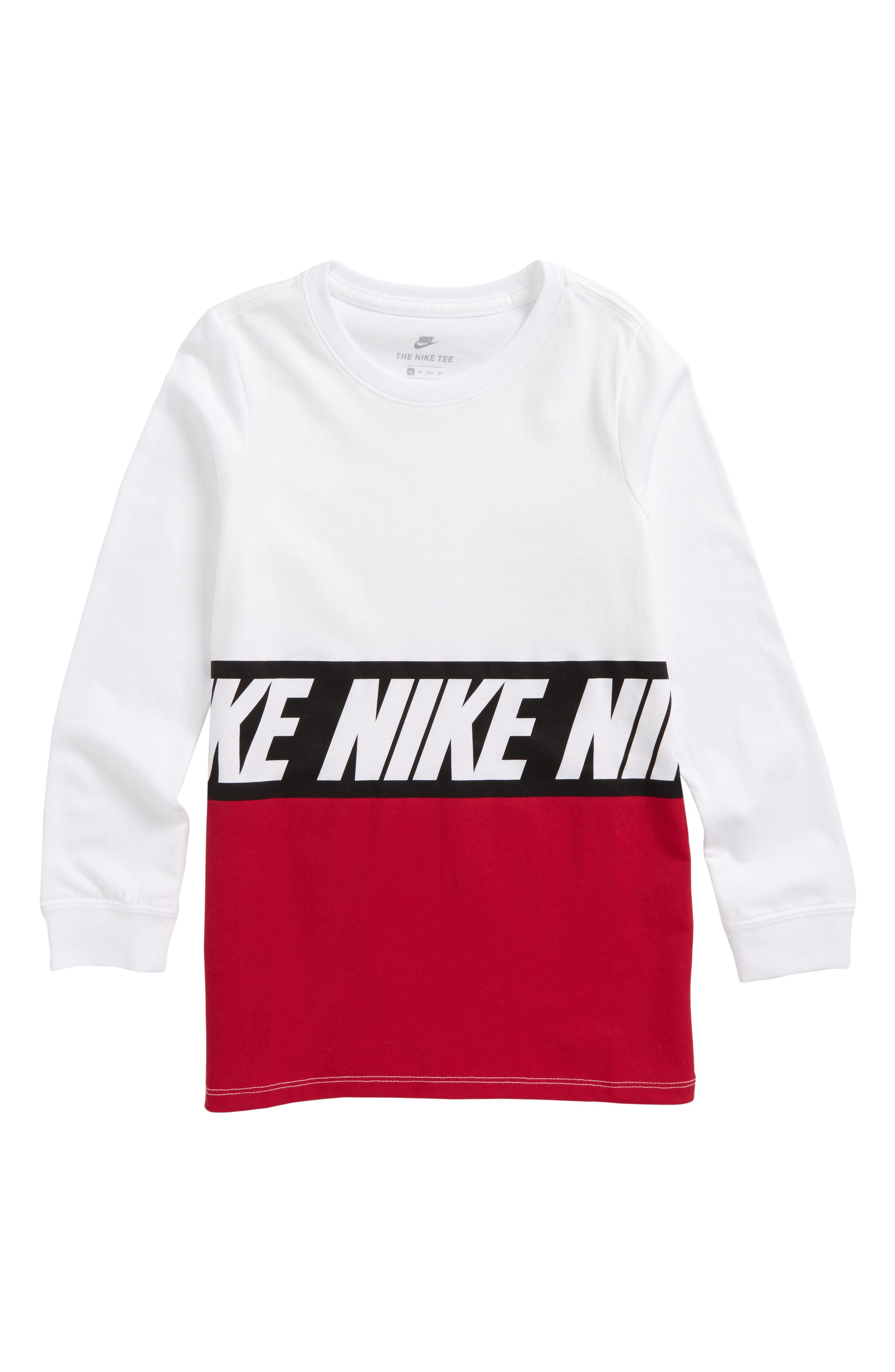 Sportswear Color Block T-Shirt,                         Main,                         color, White/ Noble Red