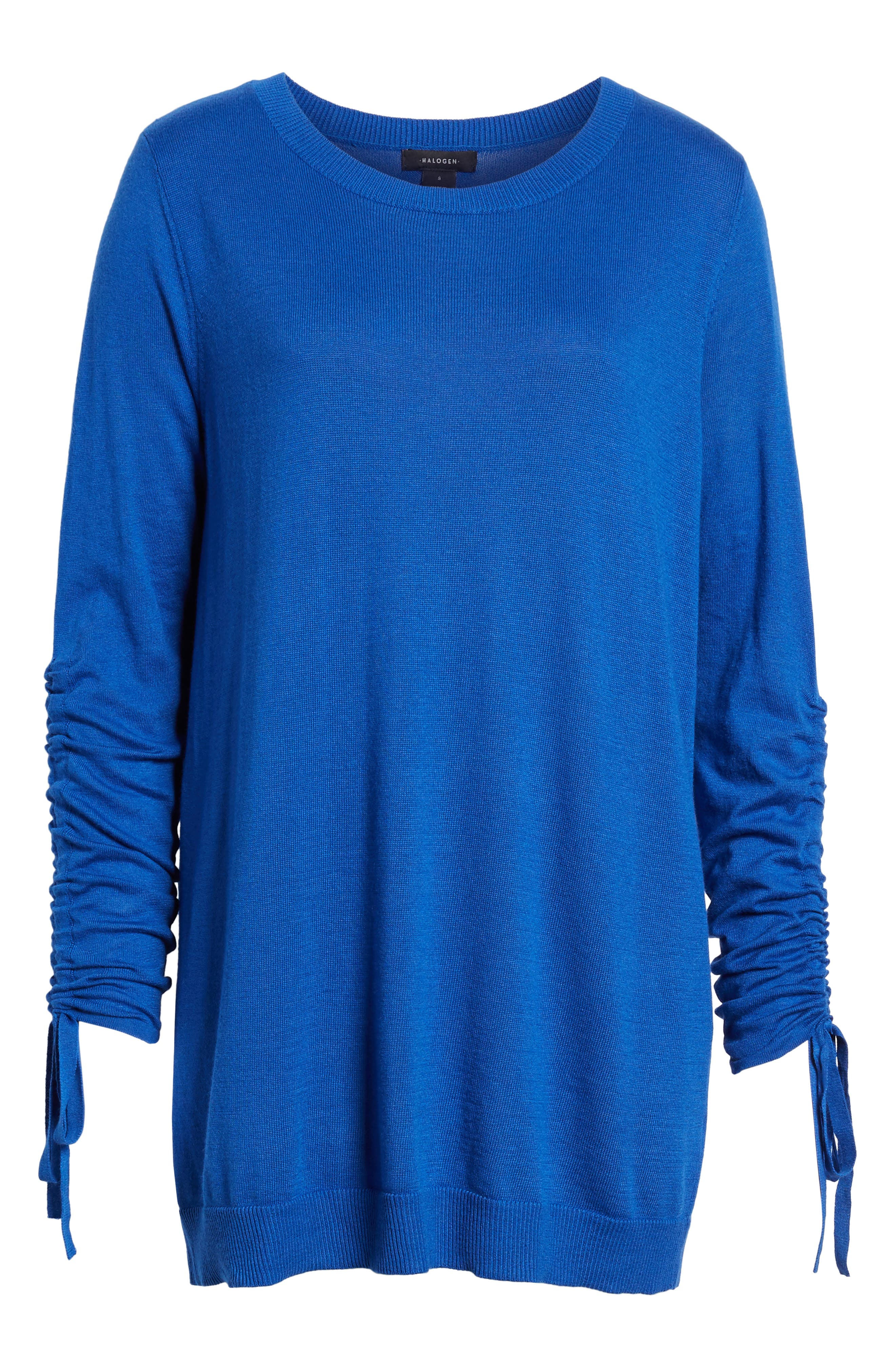 Ruched Sleeve Tunic Sweater,                             Main thumbnail 1, color,                             Blue Surf