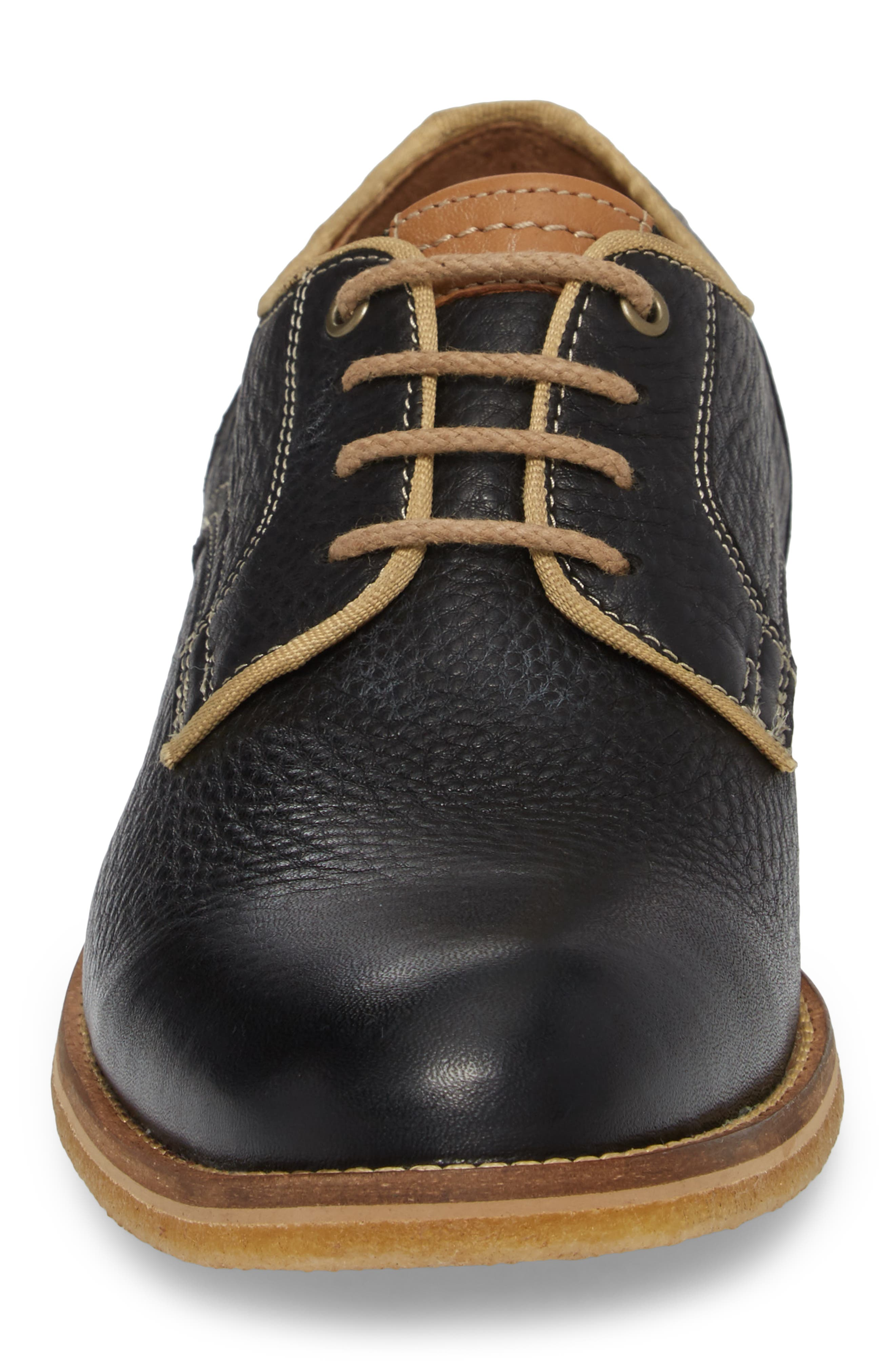 Howell Plain Toe Derby,                             Alternate thumbnail 4, color,                             Black Leather