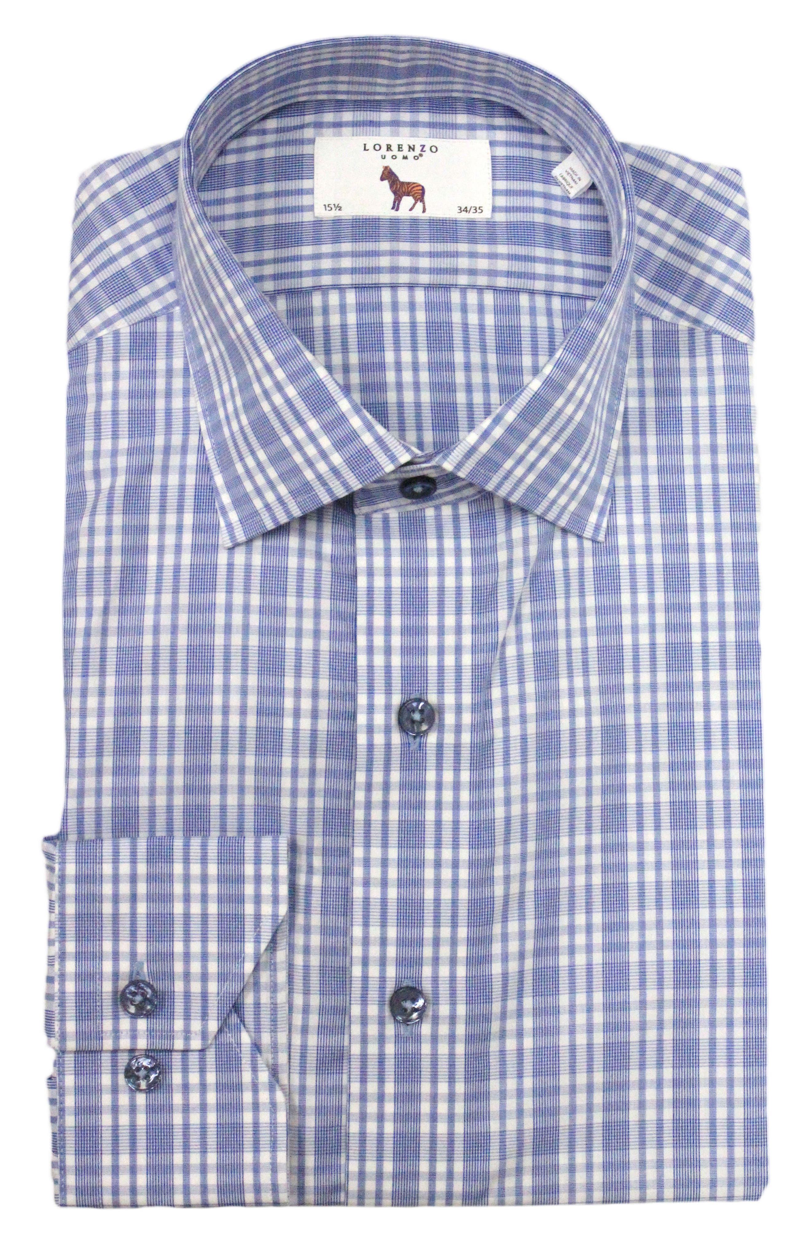 Trim Fit Plaid Dress Shirt,                             Main thumbnail 1, color,                             Light Blue