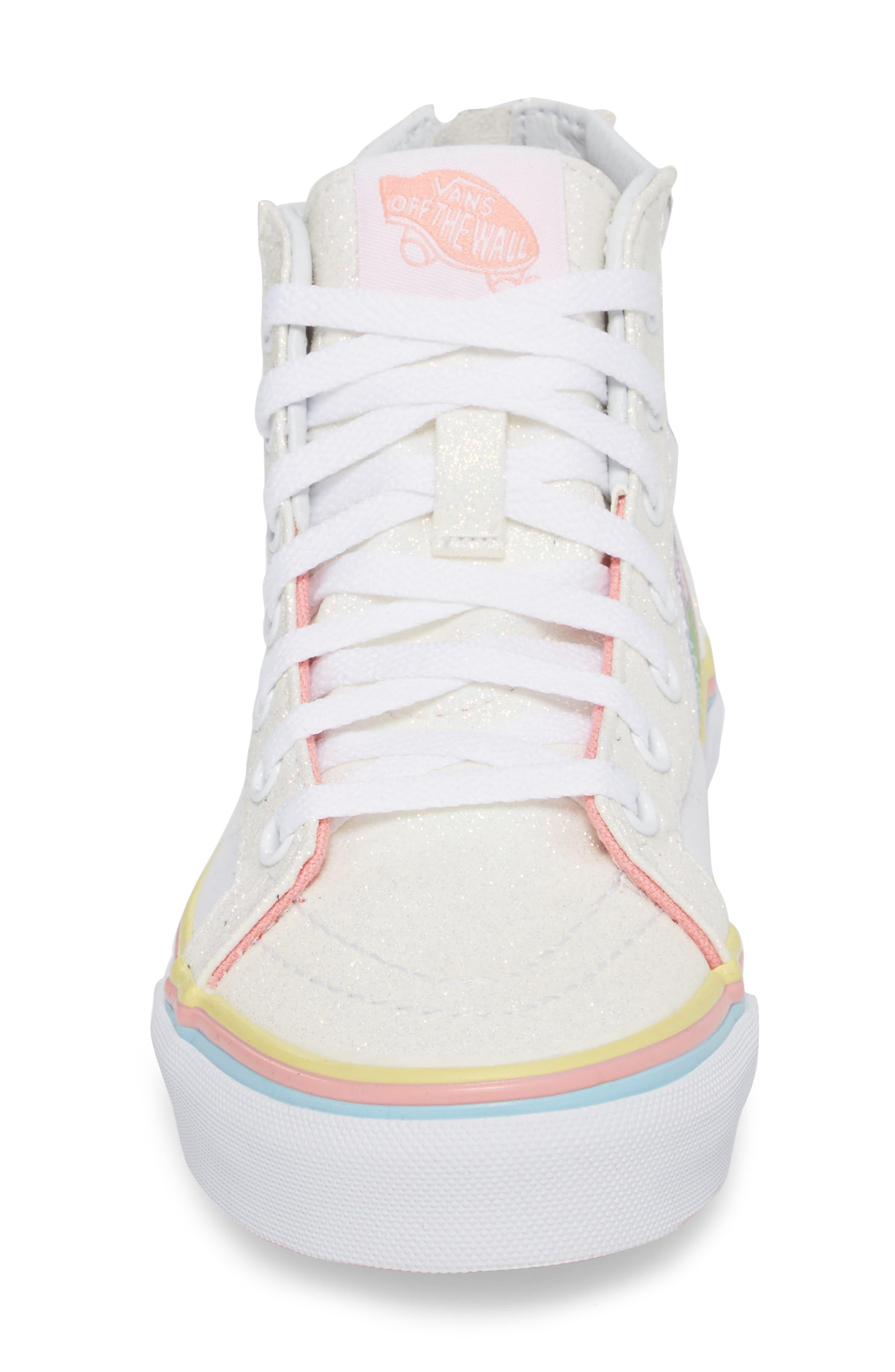 Sk8-Hi Zip Unicorn Glitter High Top Sneaker,                             Alternate thumbnail 4, color,                             White Glitter Unicorn
