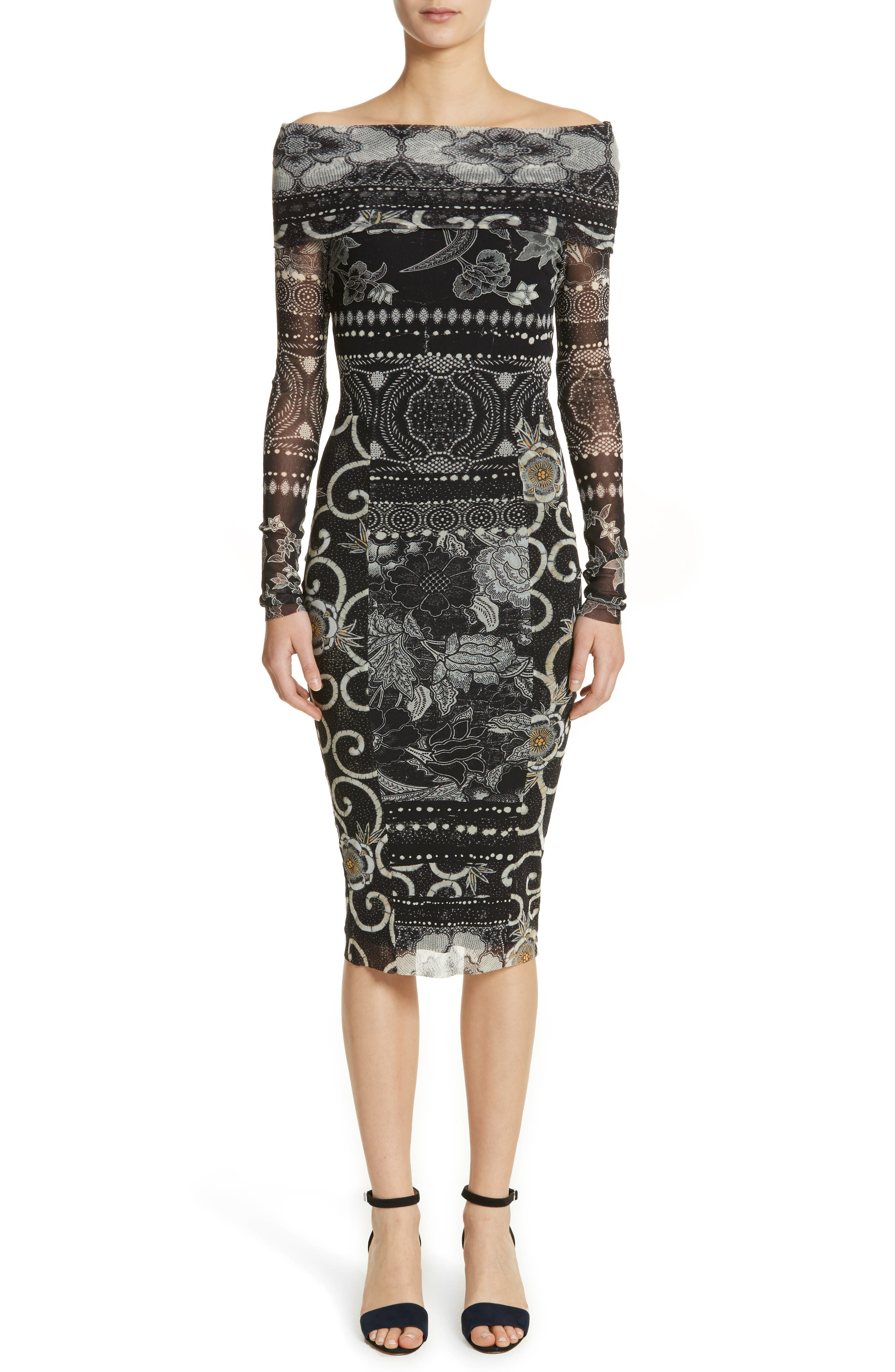 Mixed Print Tulle Body-Ccon Dress,                         Main,                         color, Nero