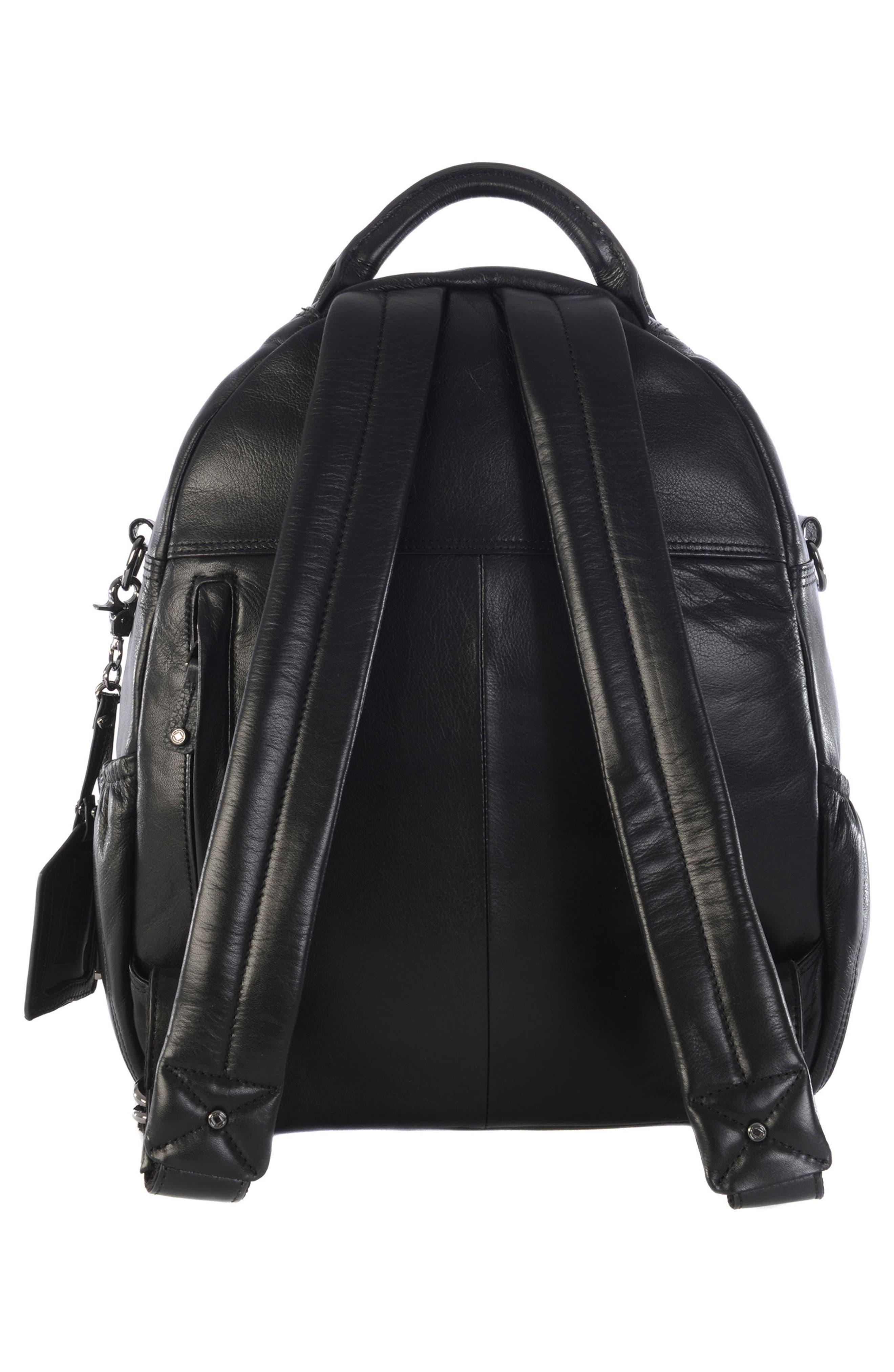 Joy XL Leather Backpack,                             Alternate thumbnail 3, color,                             Black