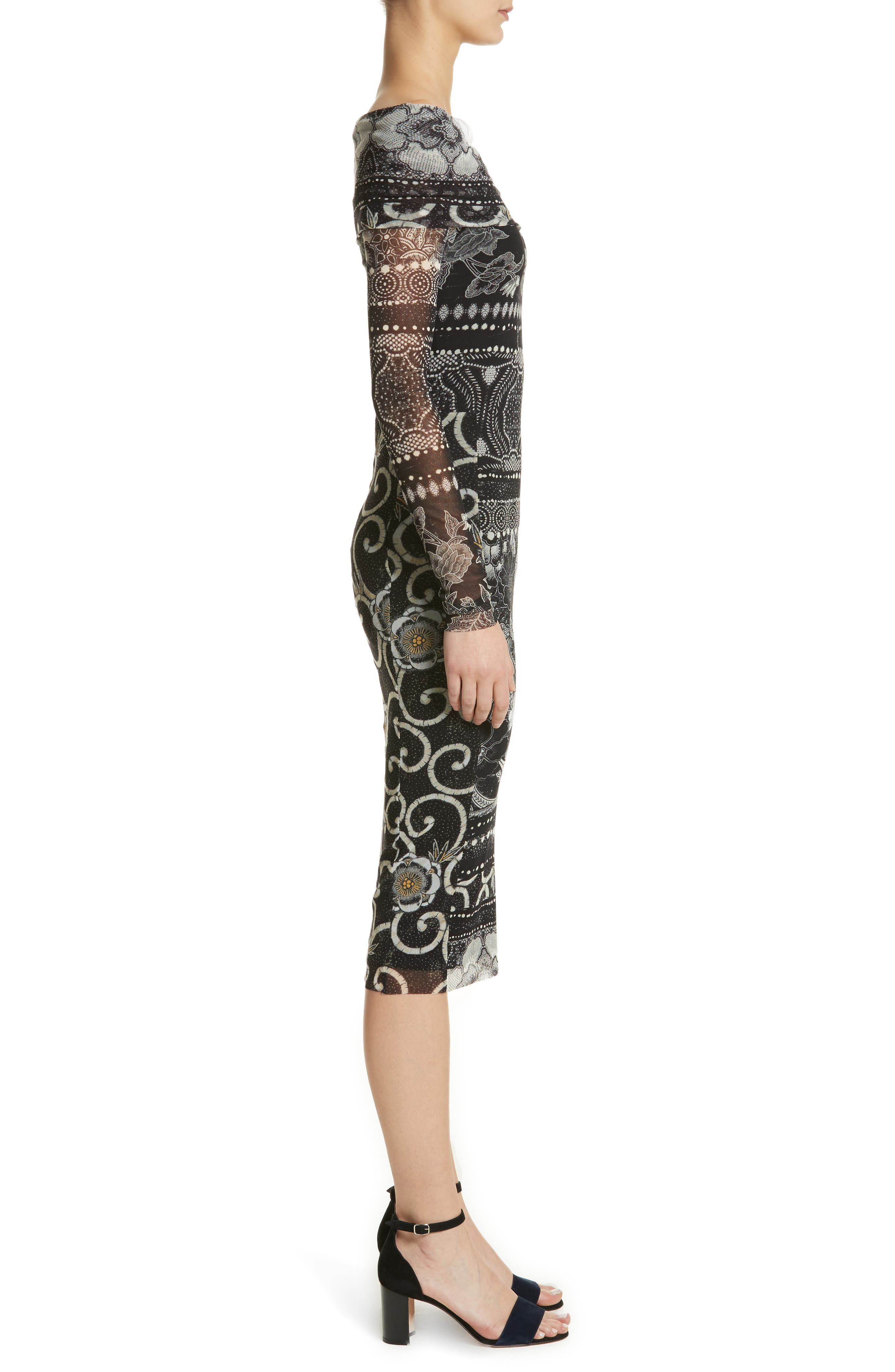 Mixed Print Tulle Body-Ccon Dress,                             Alternate thumbnail 3, color,                             Nero