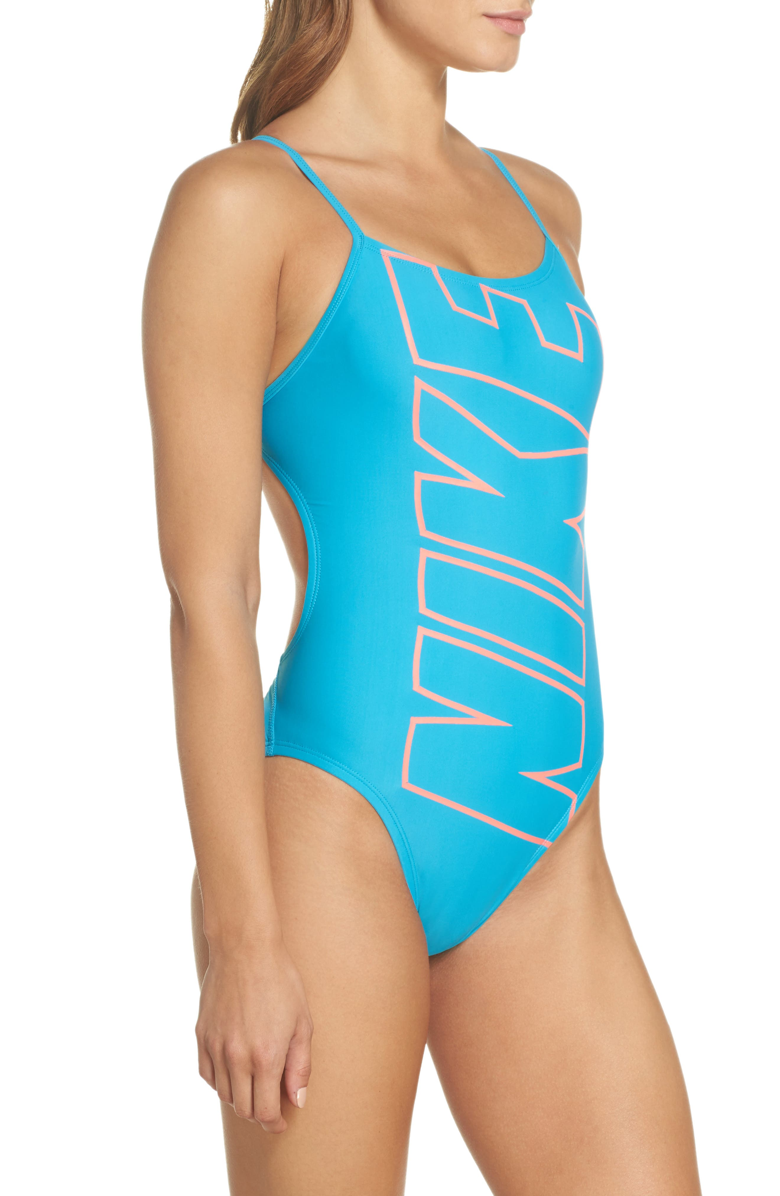Crossback One-Piece Swimsuit,                             Alternate thumbnail 3, color,                             Light Blue Fury