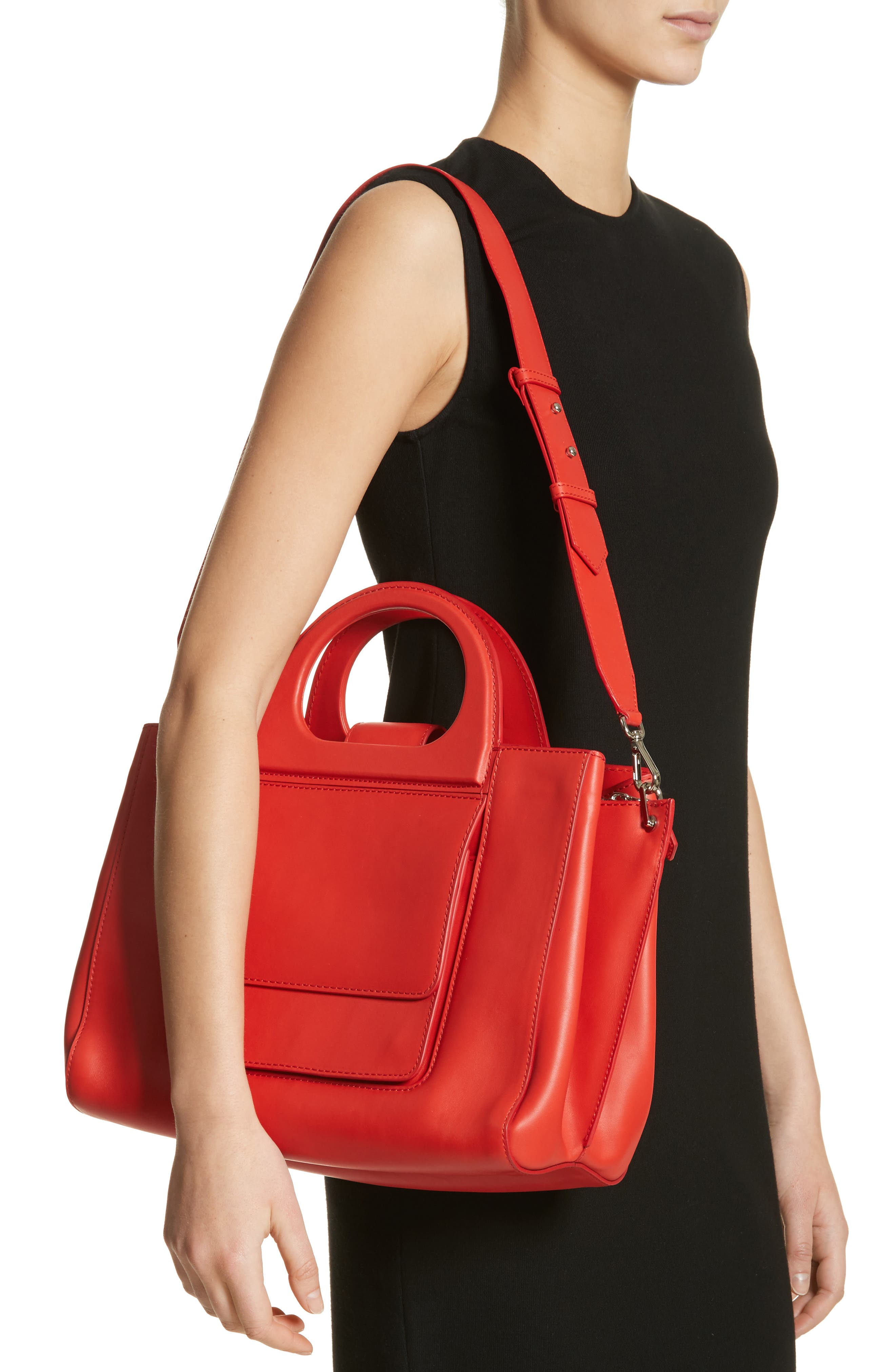 Medium Grace Leather Tote,                             Alternate thumbnail 2, color,                             Coral