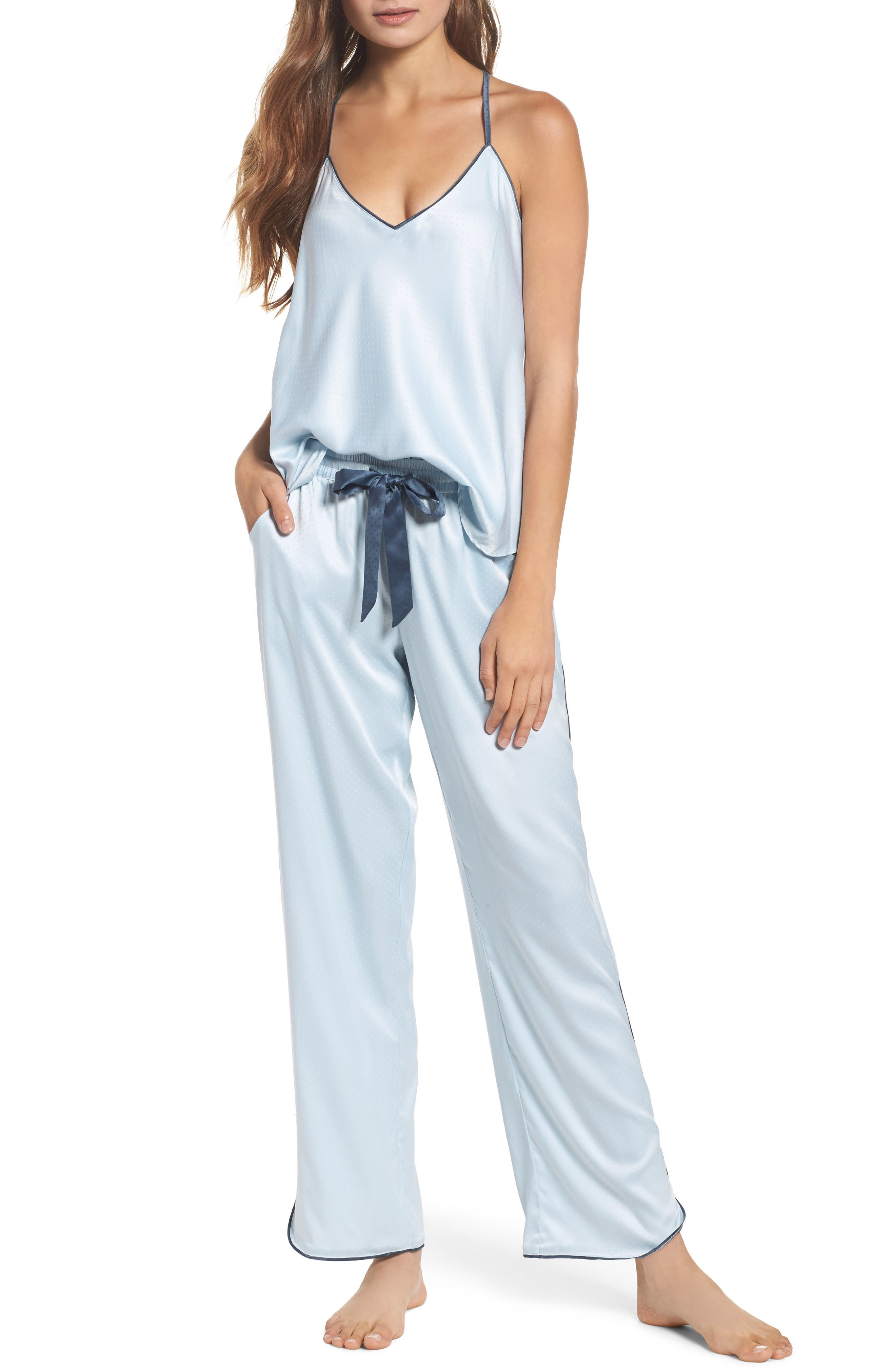 Chelsea27 Late Nights Satin Lounge Pants,                             Alternate thumbnail 4, color,                             Blue Drift
