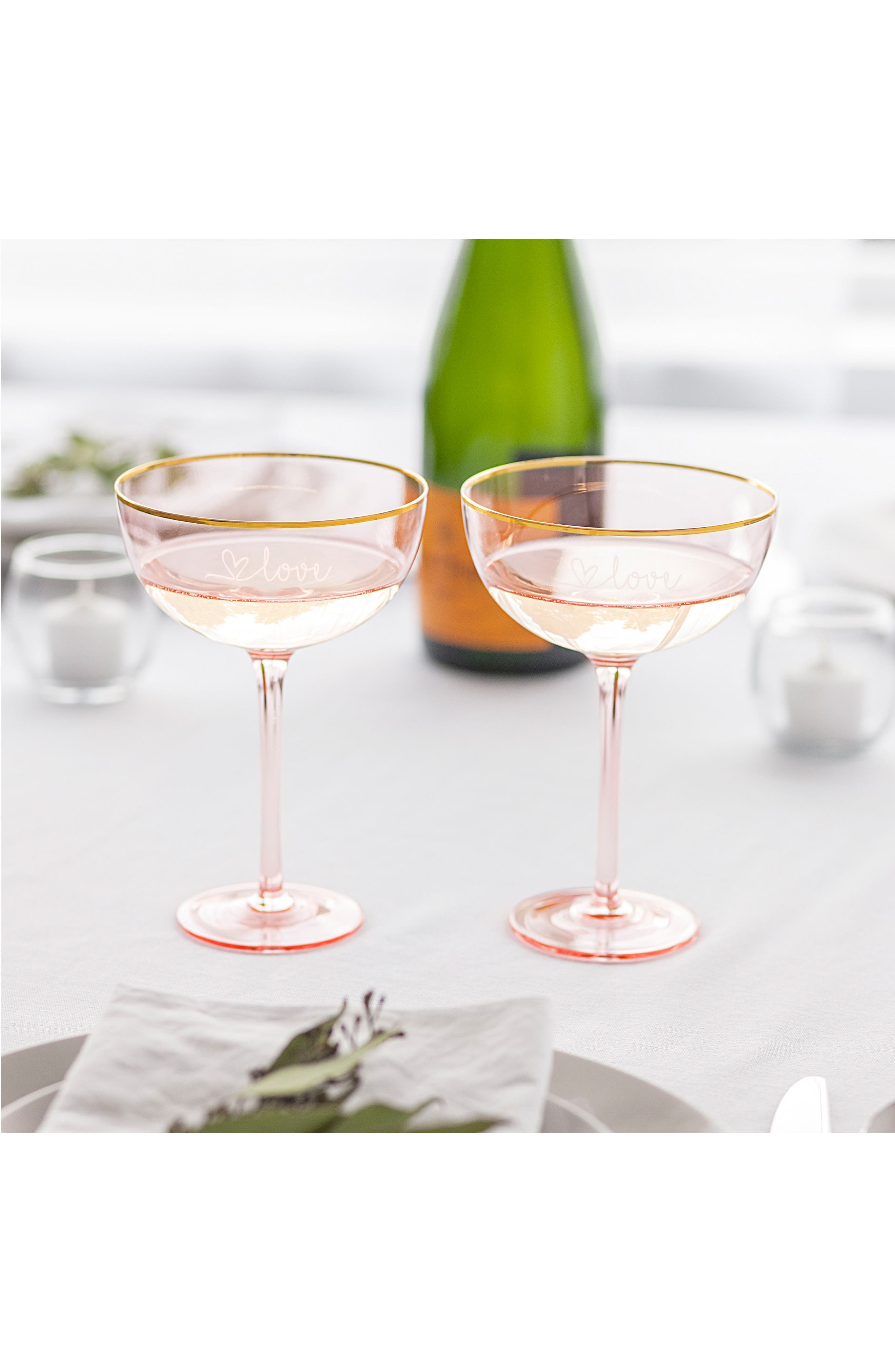 Love Set of 2 Champagne Coupes,                             Alternate thumbnail 6, color,                             Blush