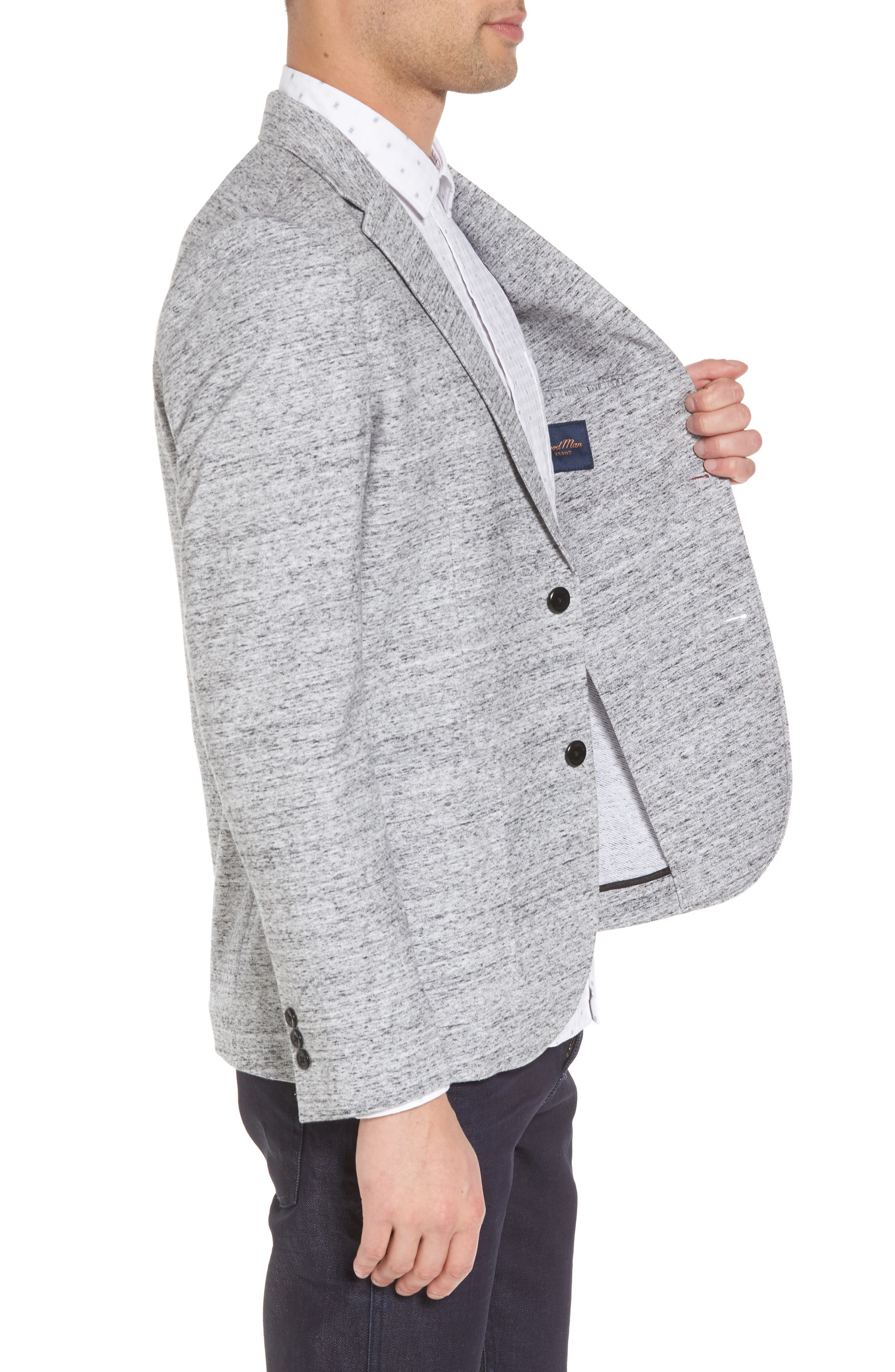 Soft Cotton Unconstructed Blazer,                             Alternate thumbnail 3, color,                             Grey Heather / White