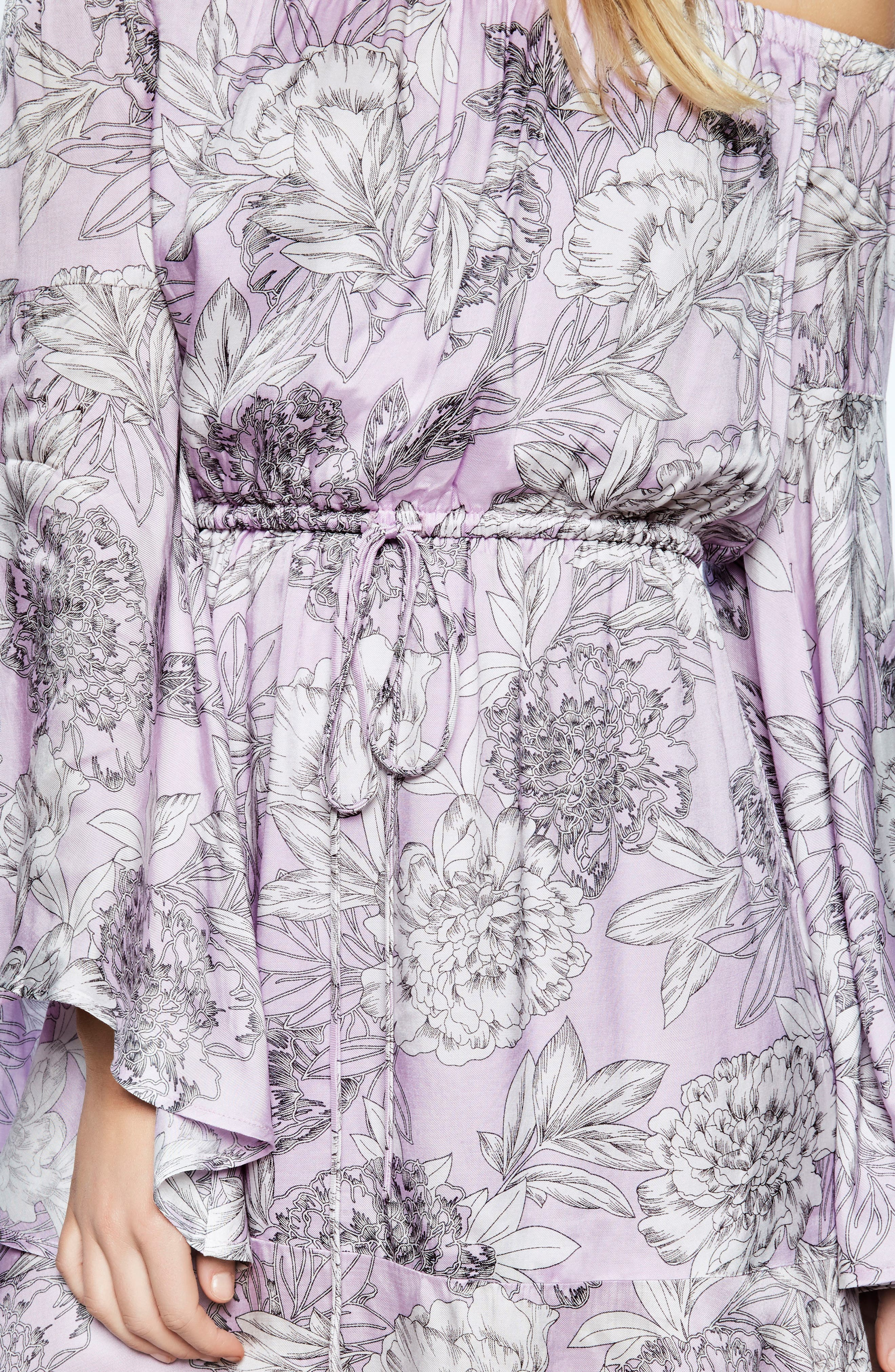Britt Off the Shoulder Dress,                             Alternate thumbnail 5, color,                             Spring Bloom