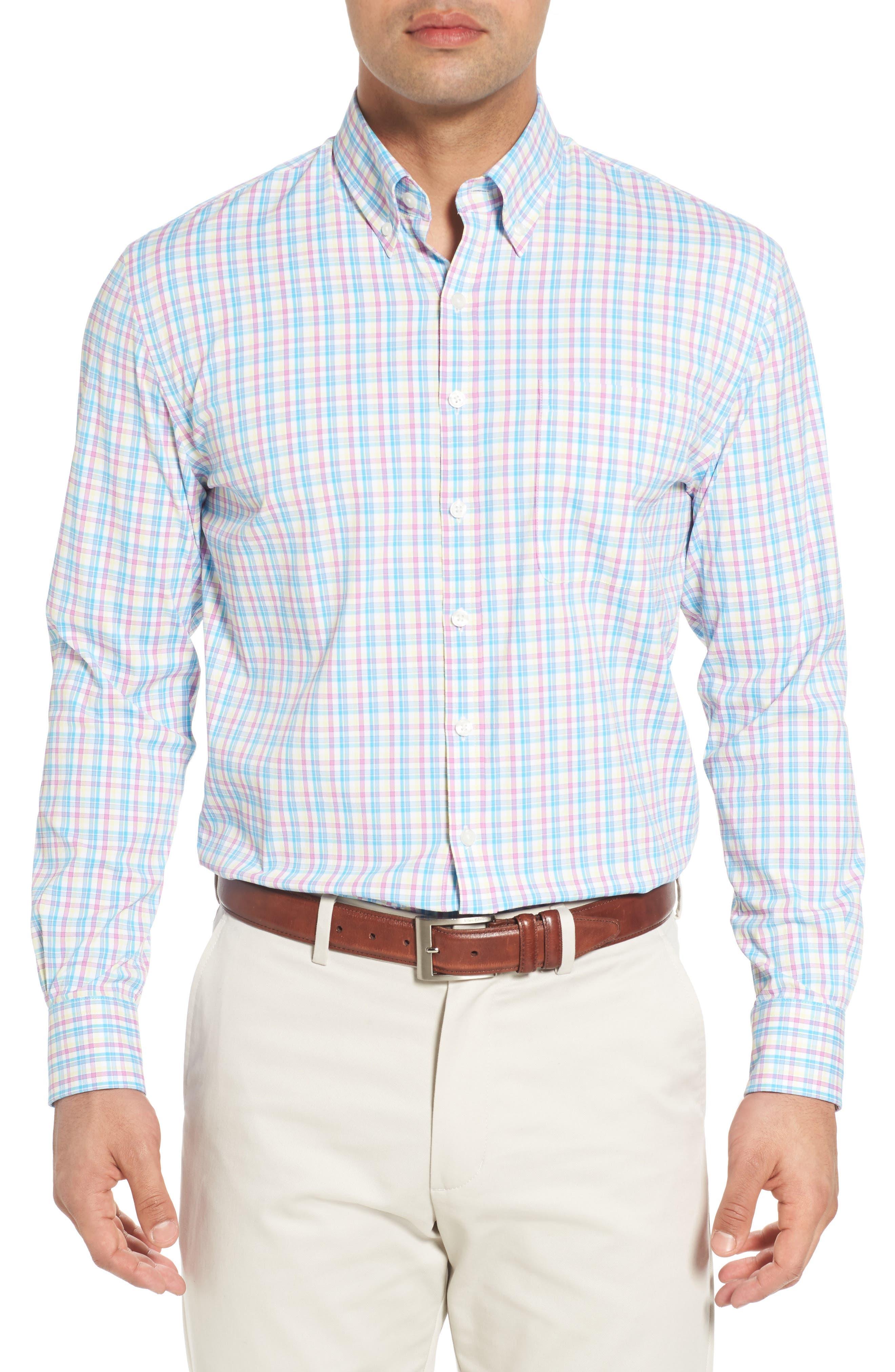 Dorian Plaid Easy Care Sport Shirt,                             Main thumbnail 1, color,                             White