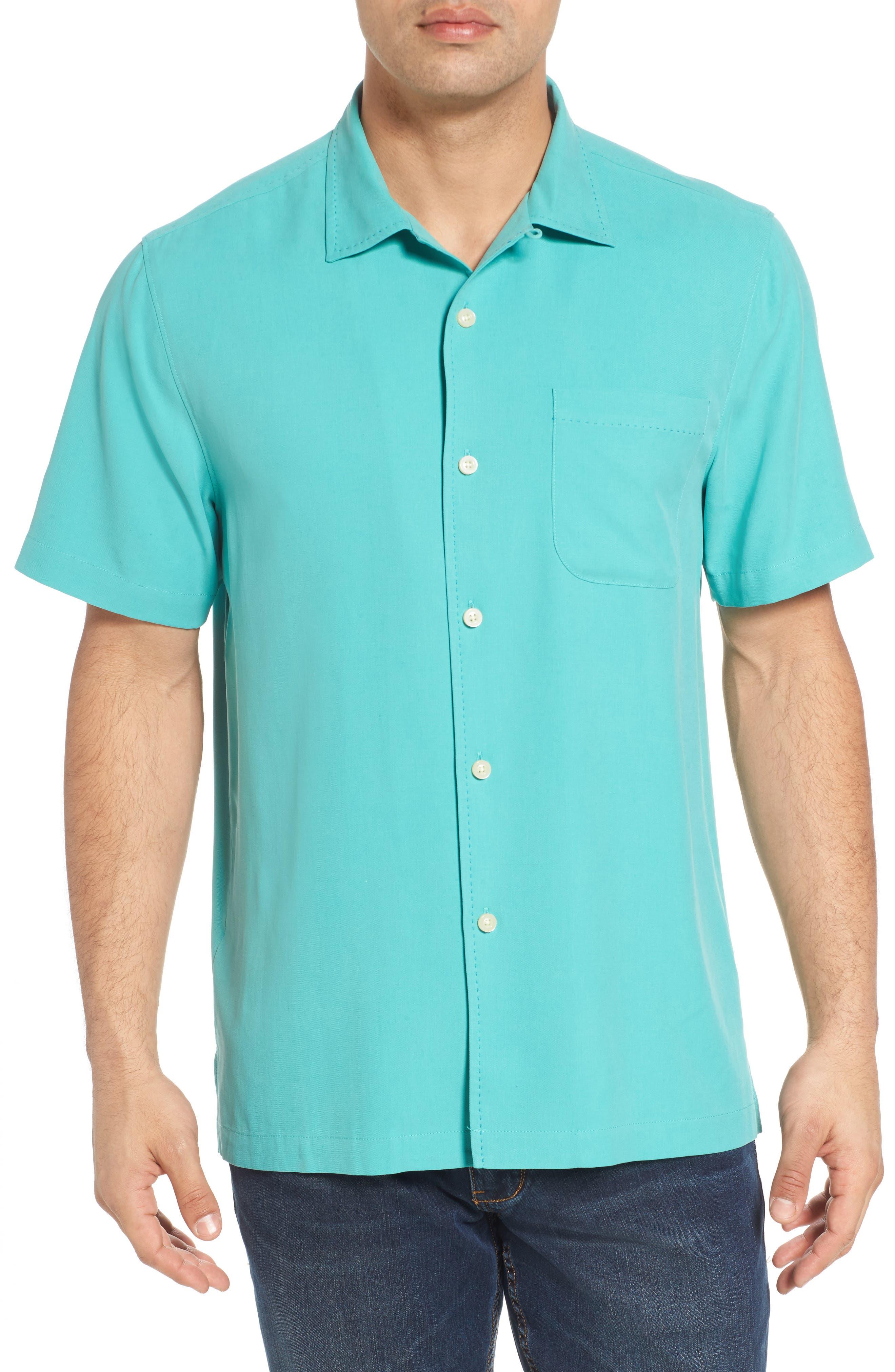 Catalina Silk Camp Shirt,                         Main,                         color, Castaway Green