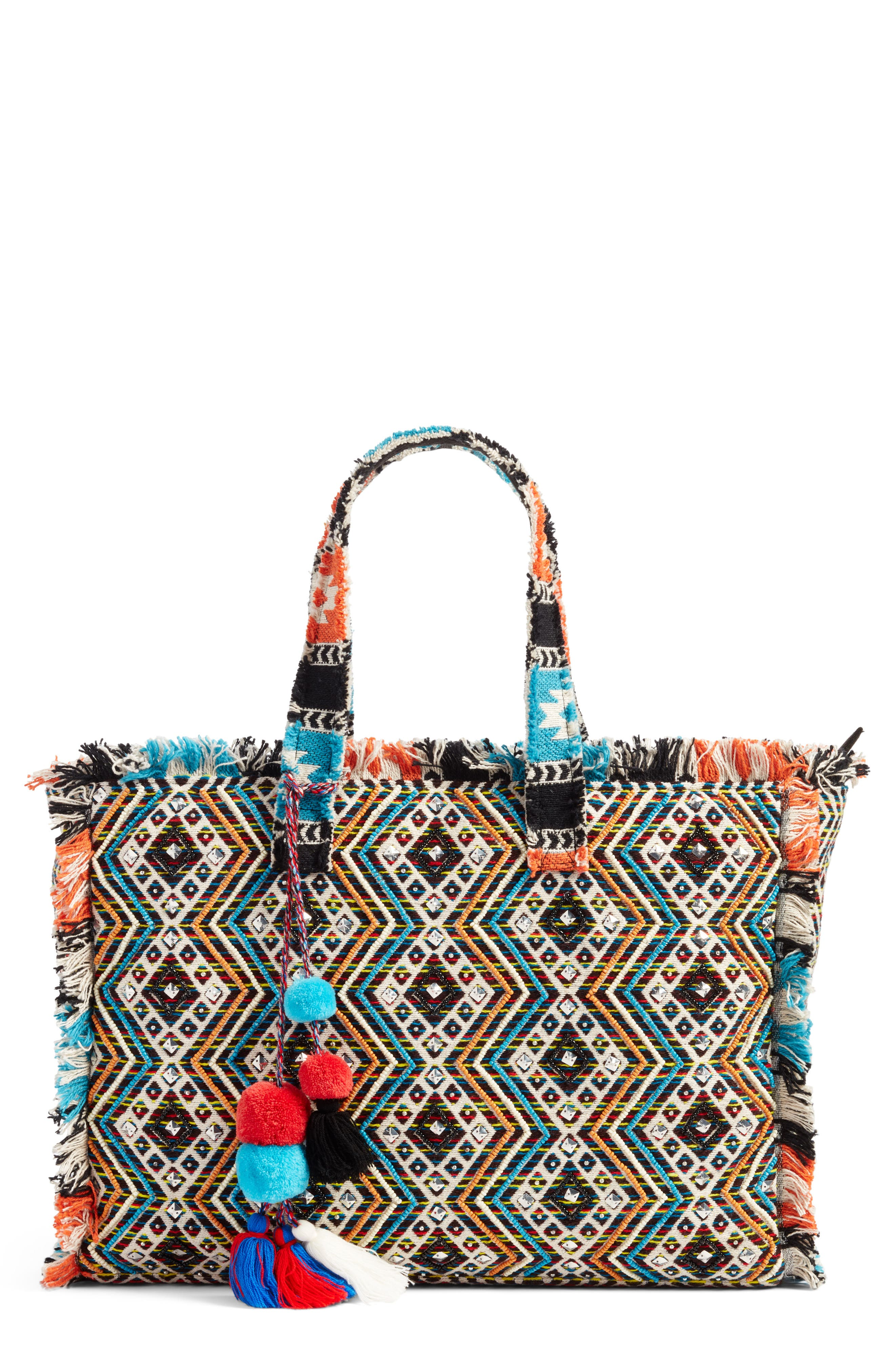 Resort Embroidered Tote,                             Main thumbnail 1, color,                             Blue Multi