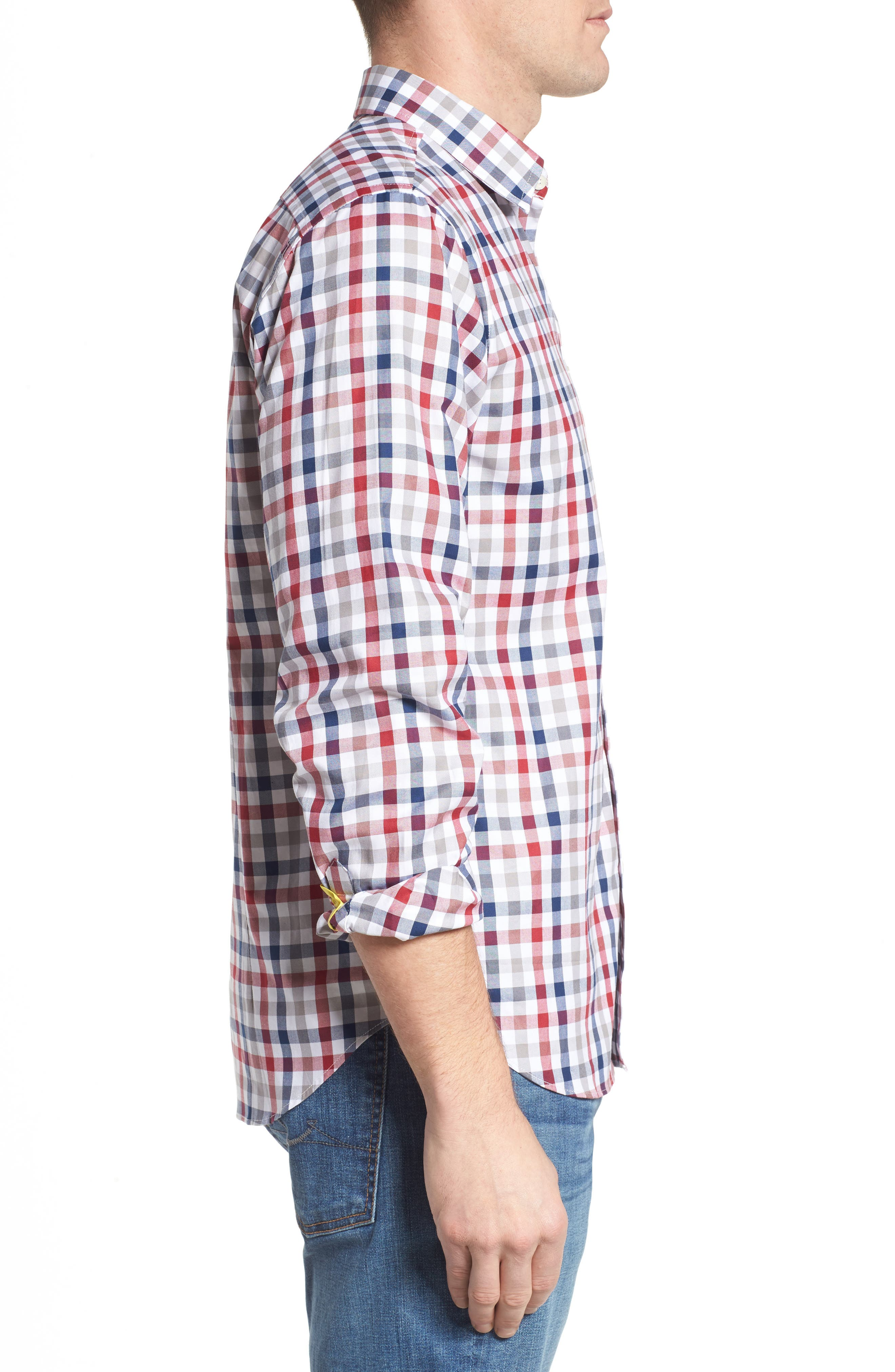 Fitted Check Sport Shirt,                             Alternate thumbnail 3, color,                             Medium Red