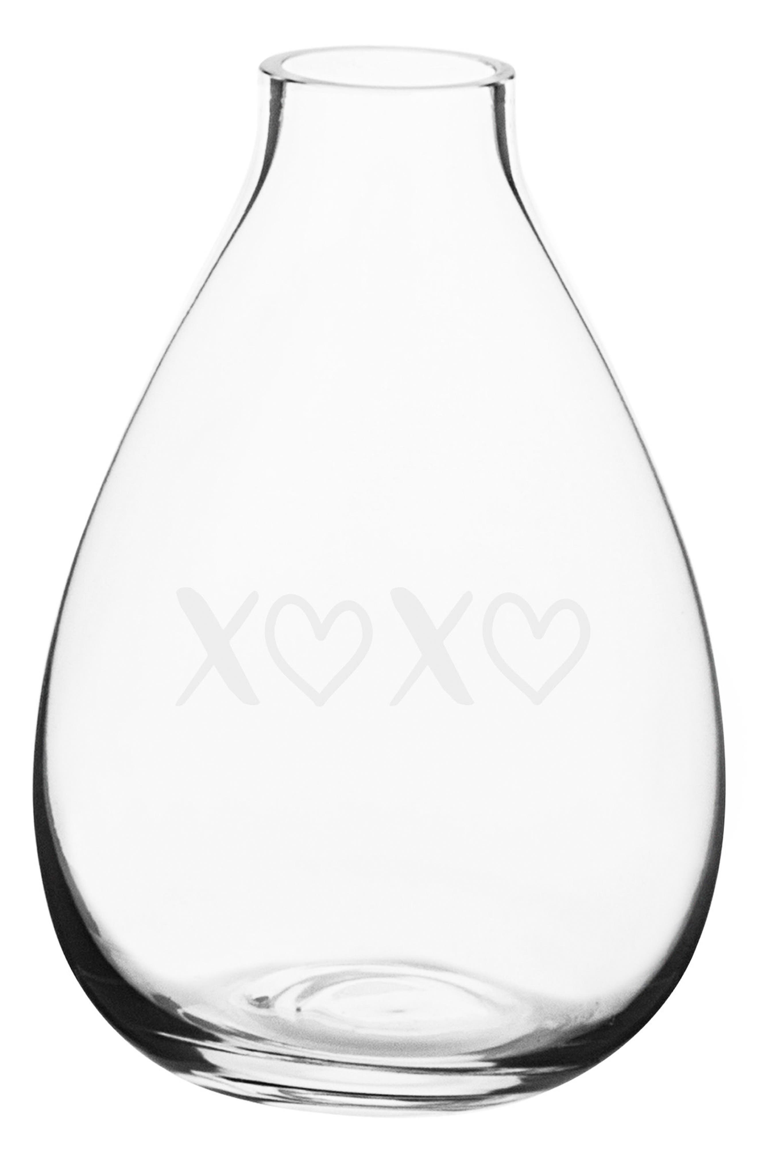 XOXO Glass Vase,                         Main,                         color, Clear