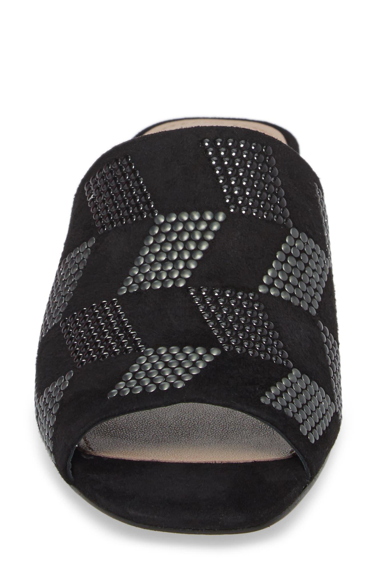 Rimini Slide Sandal,                             Alternate thumbnail 4, color,                             Black Suede