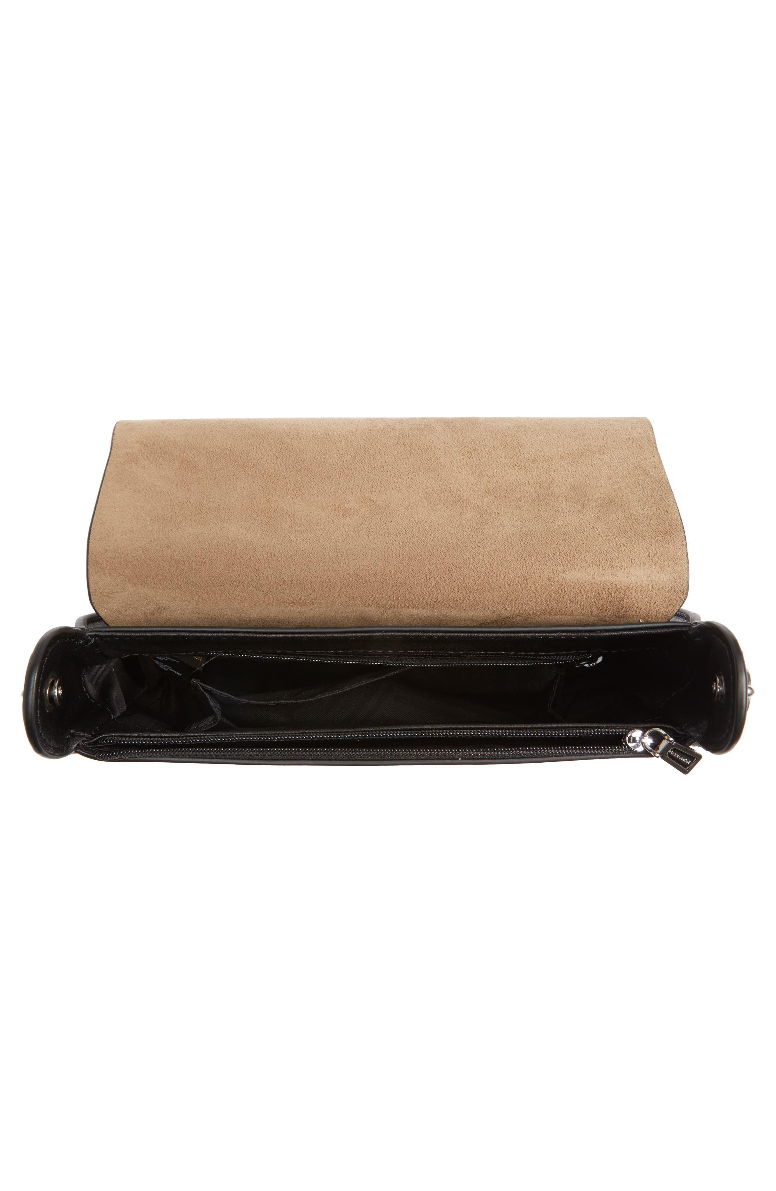 Ring Leather Shoulder Bag,                             Alternate thumbnail 4, color,                             Black