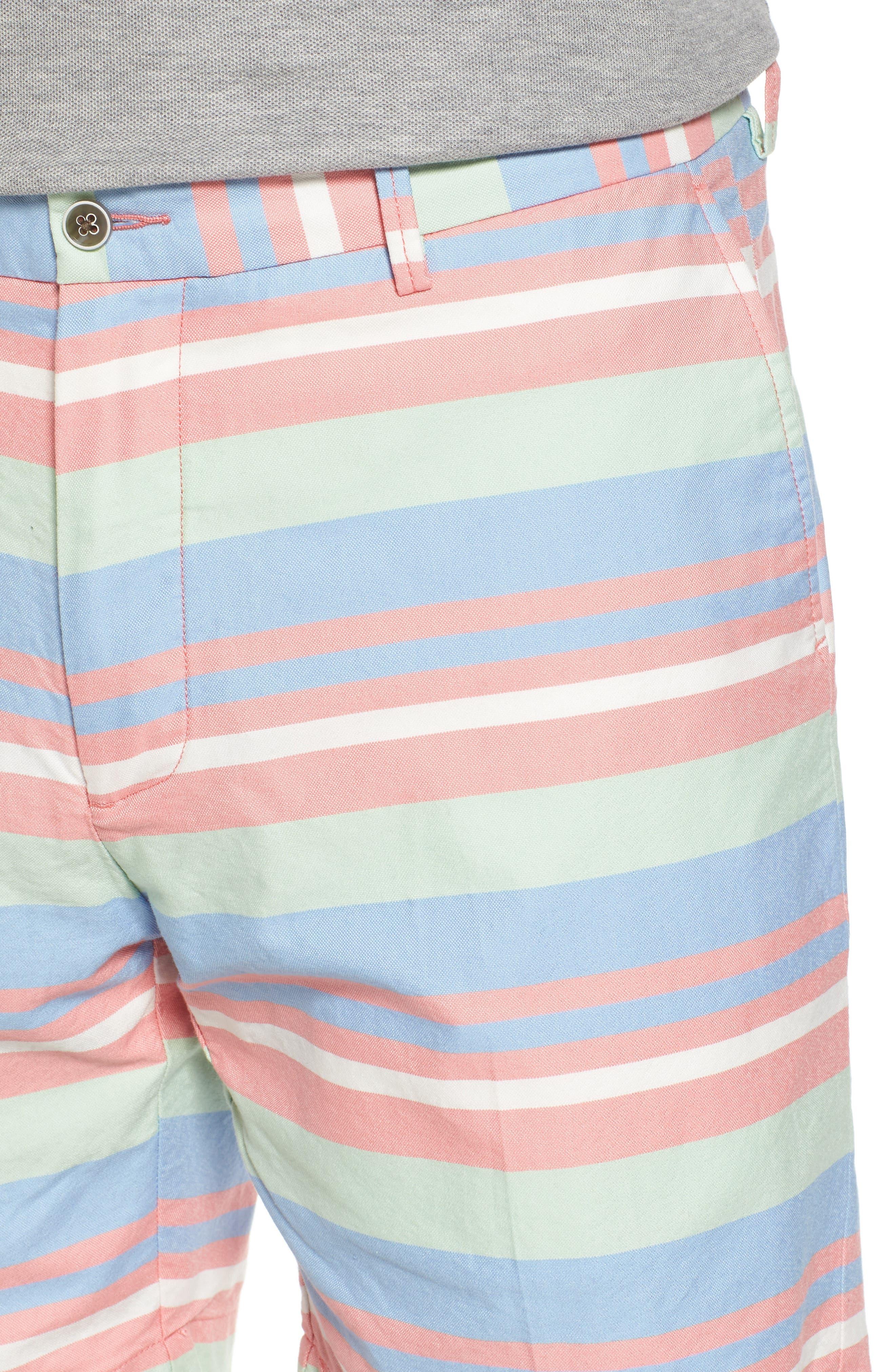 Stripe Flat Front Shorts,                             Alternate thumbnail 4, color,                             Tahoe Blue