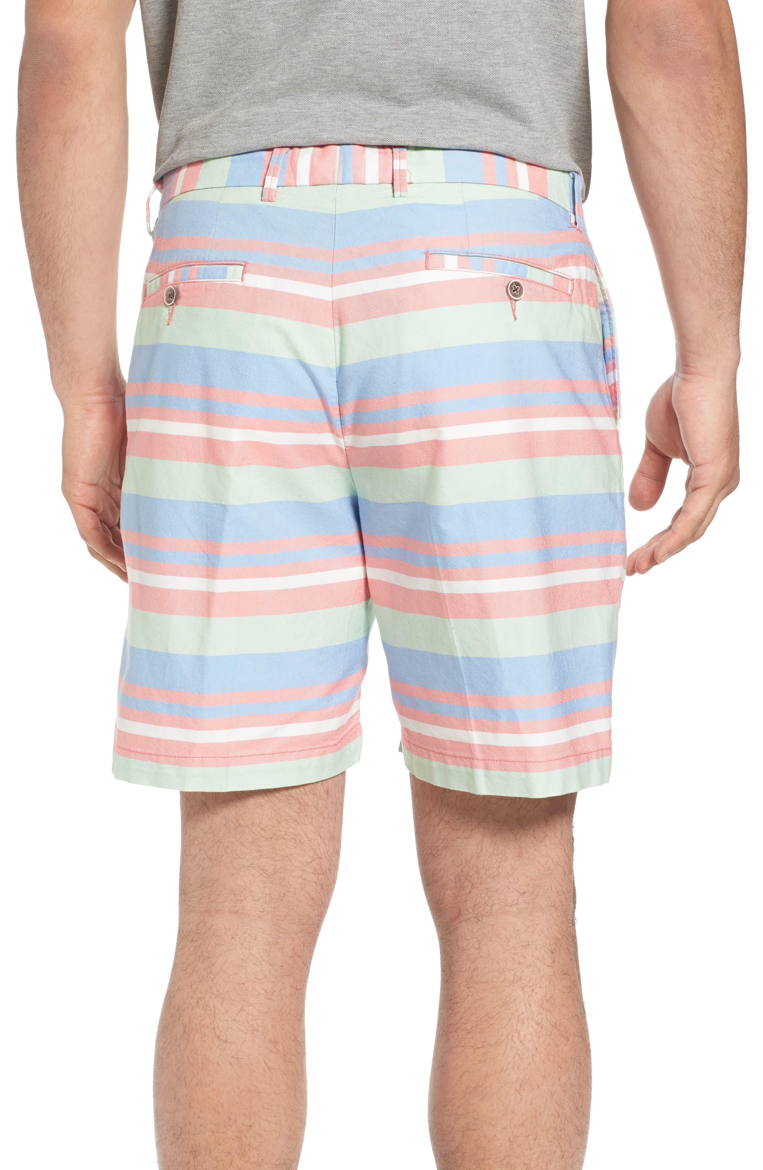 Stripe Flat Front Shorts,                             Alternate thumbnail 2, color,                             Tahoe Blue