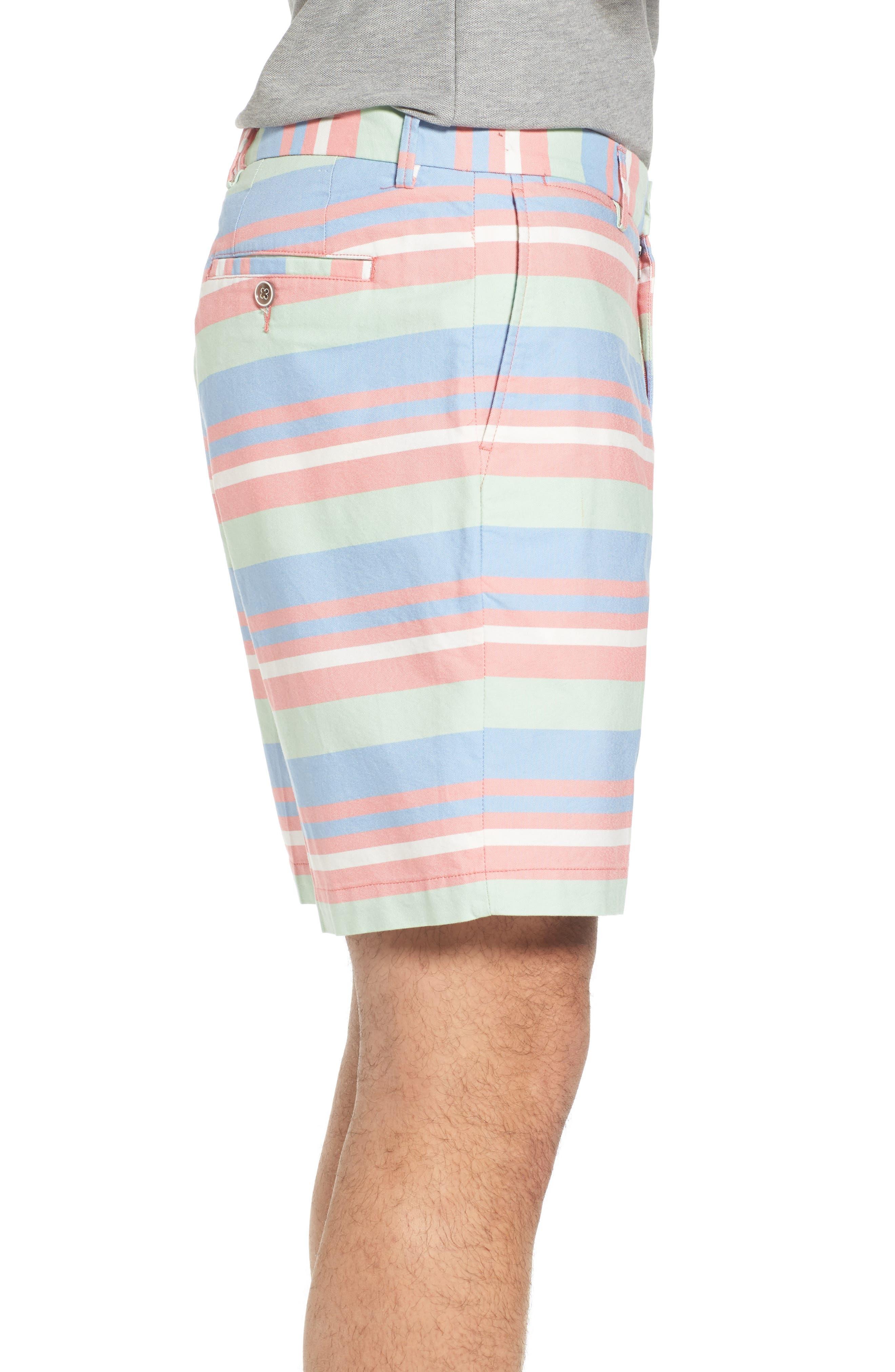 Stripe Flat Front Shorts,                             Alternate thumbnail 3, color,                             Tahoe Blue