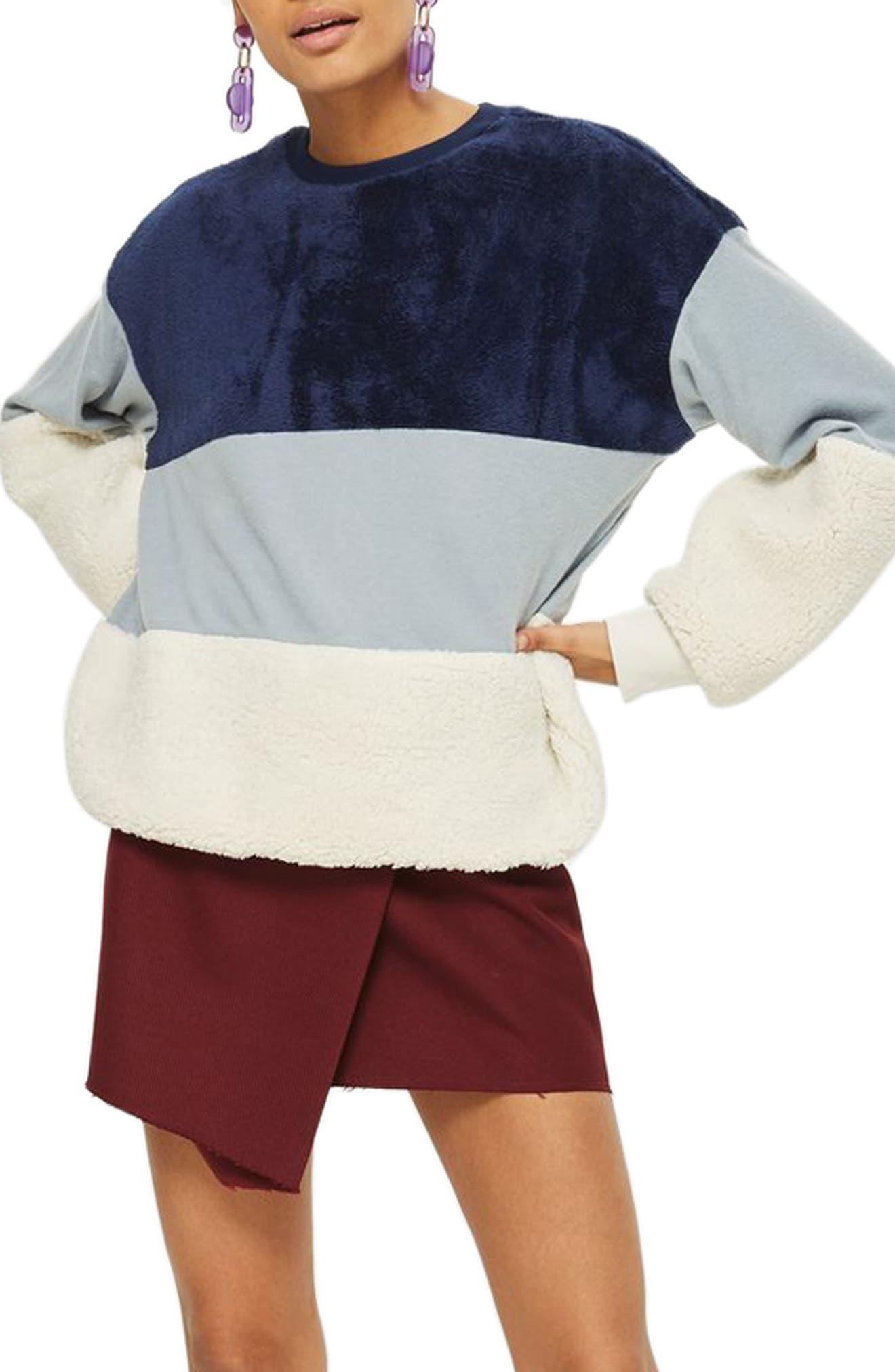 Main Image - Topshop Colorblock Fleece Sweatshirt