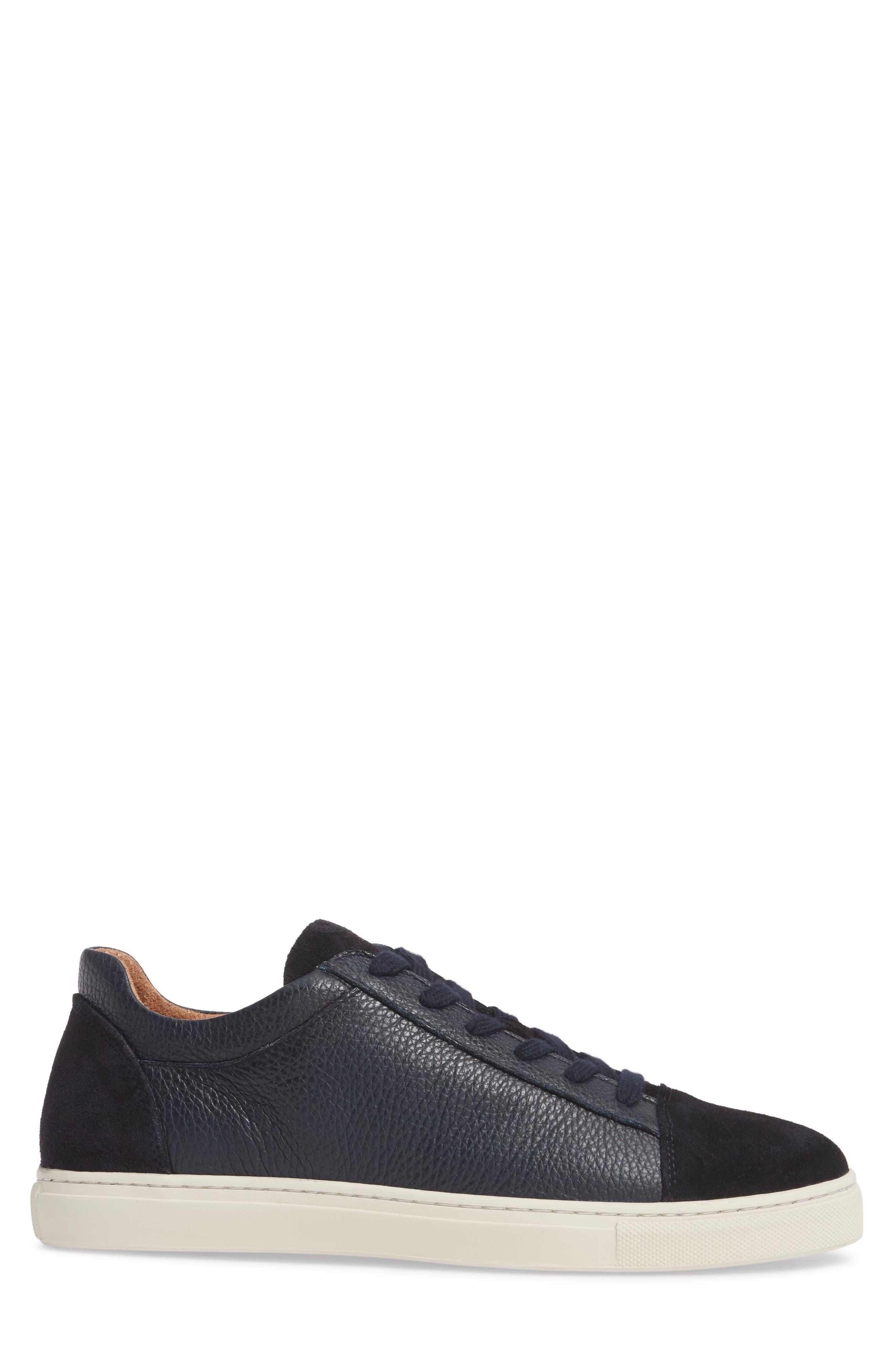 David Cap Toe Sneaker,                             Alternate thumbnail 3, color,                             Dark Navy Leather/ Suede