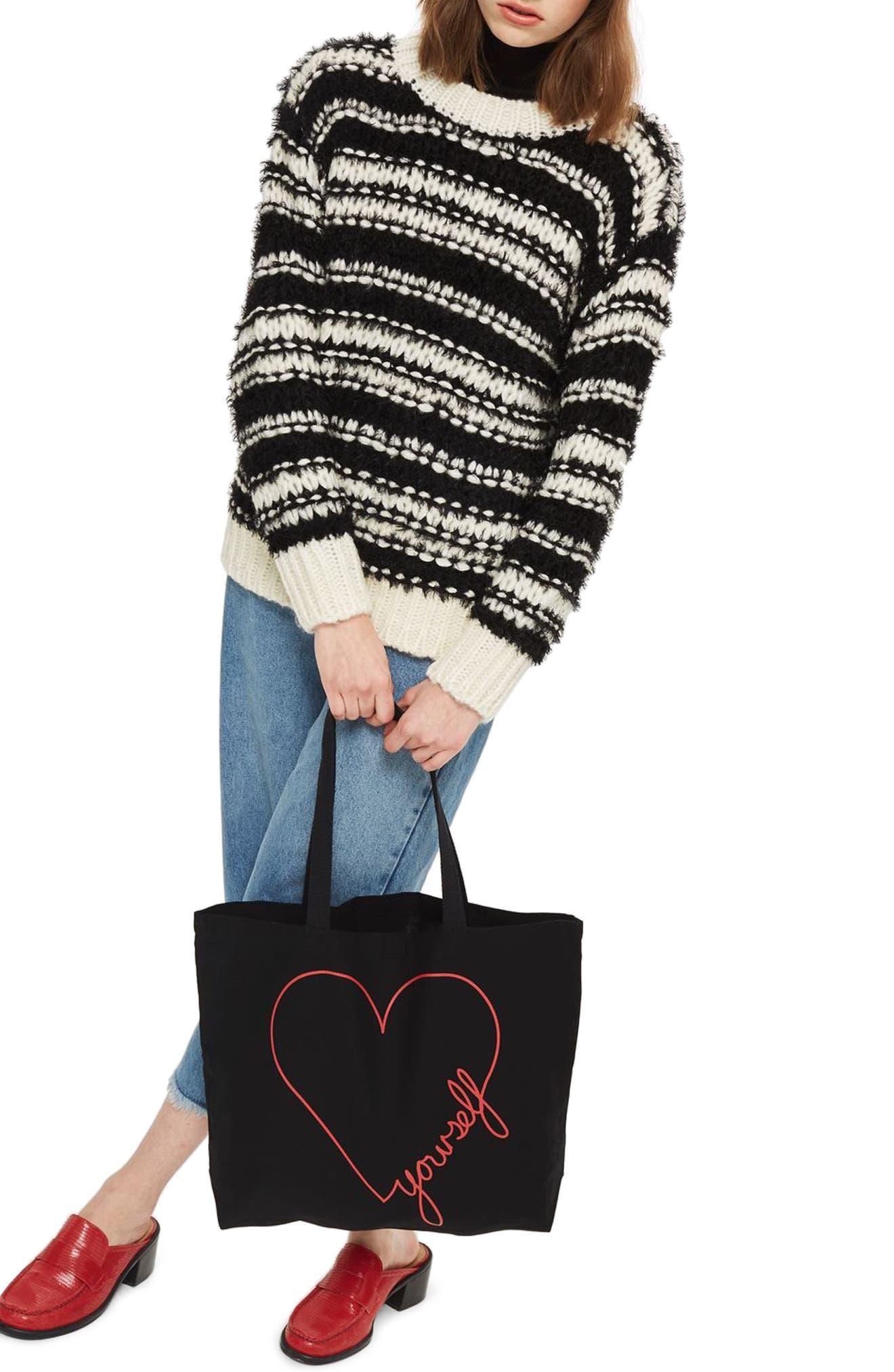 Love Yourself Canvas Tote Bag,                             Alternate thumbnail 2, color,                             Black Multi