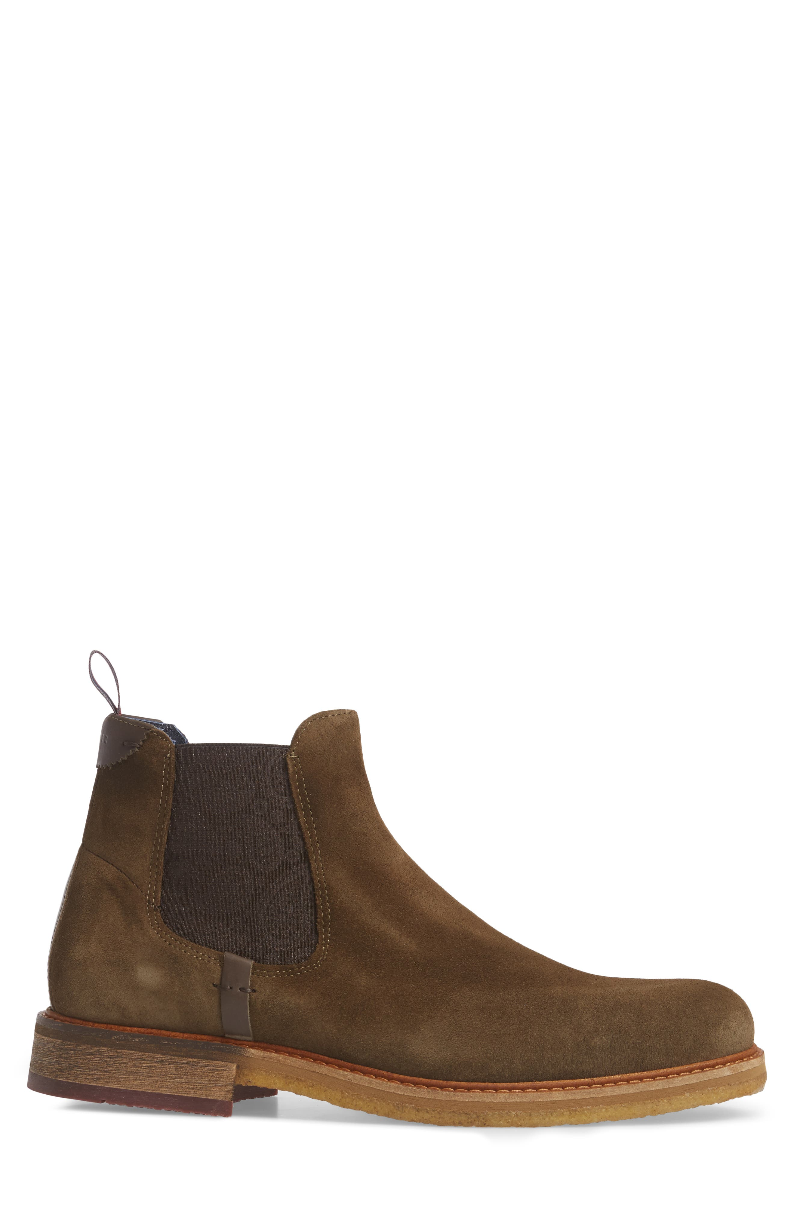 Bronzo Chelsea Boot,                             Alternate thumbnail 3, color,                             Dark Green Suede