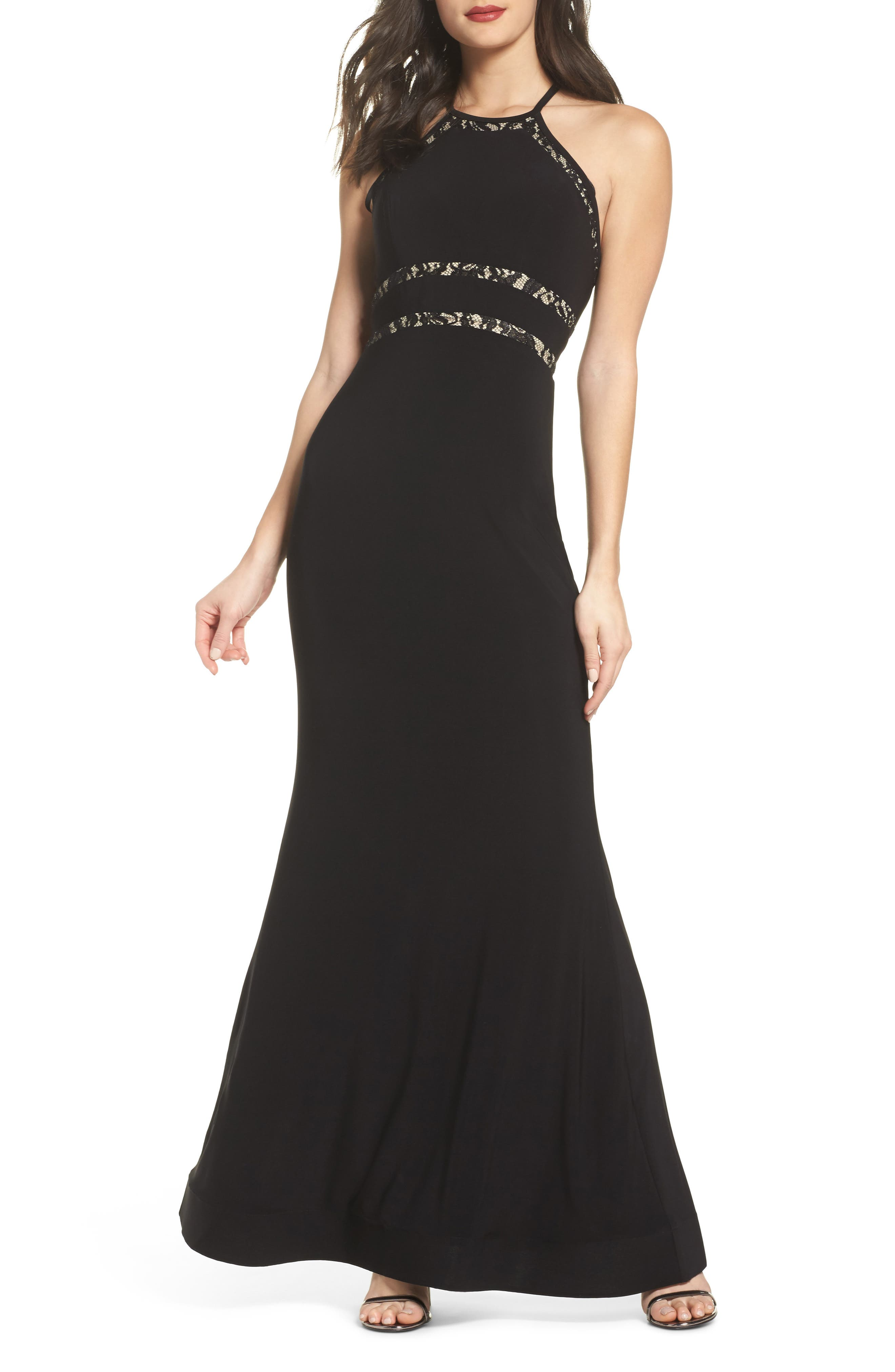 Ruffle Back Halter Gown,                             Main thumbnail 1, color,                             Black/ Nude