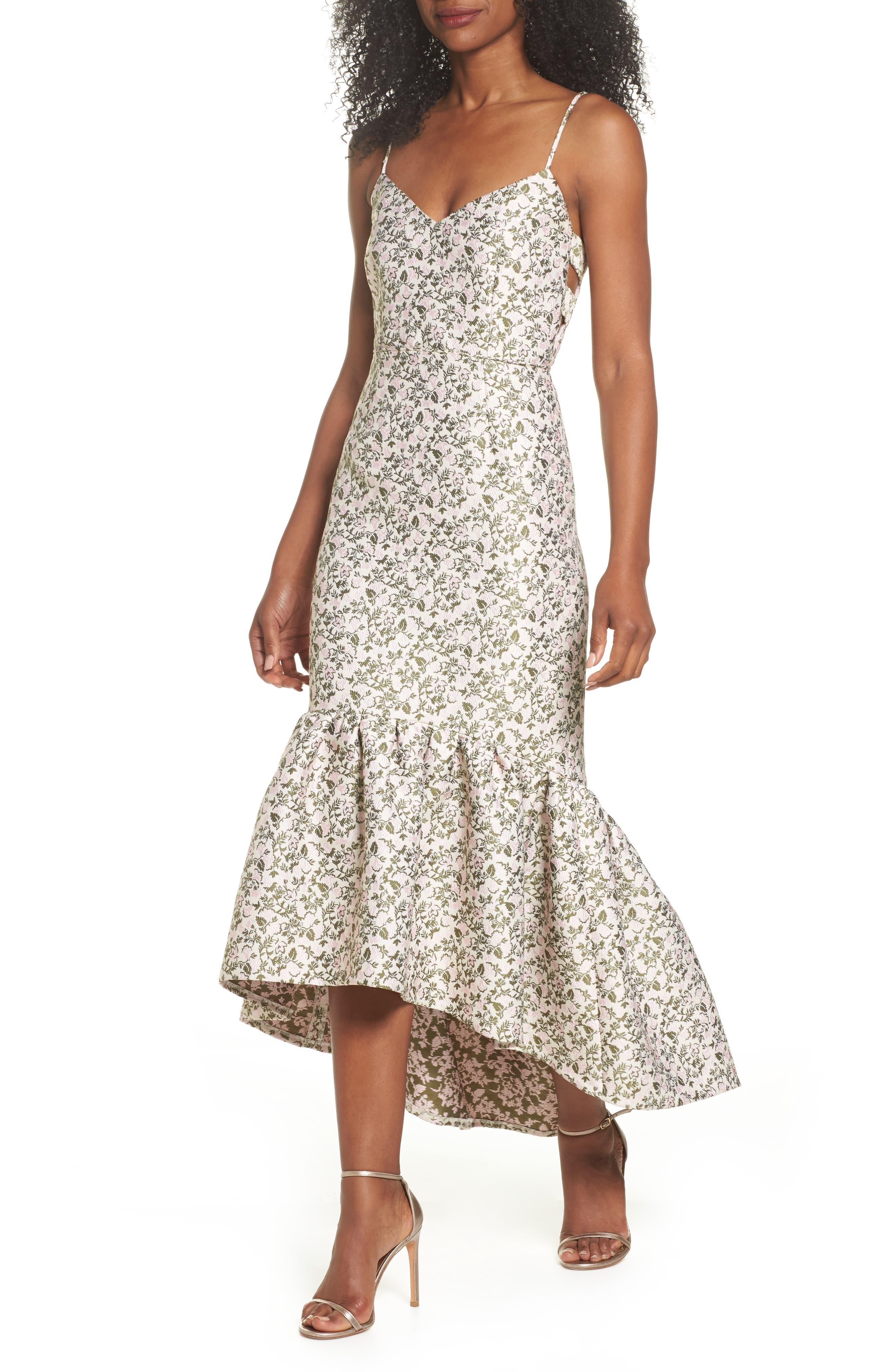 Jacquard High/Low Midi Dress,                         Main,                         color, Blush/ Olive Multi