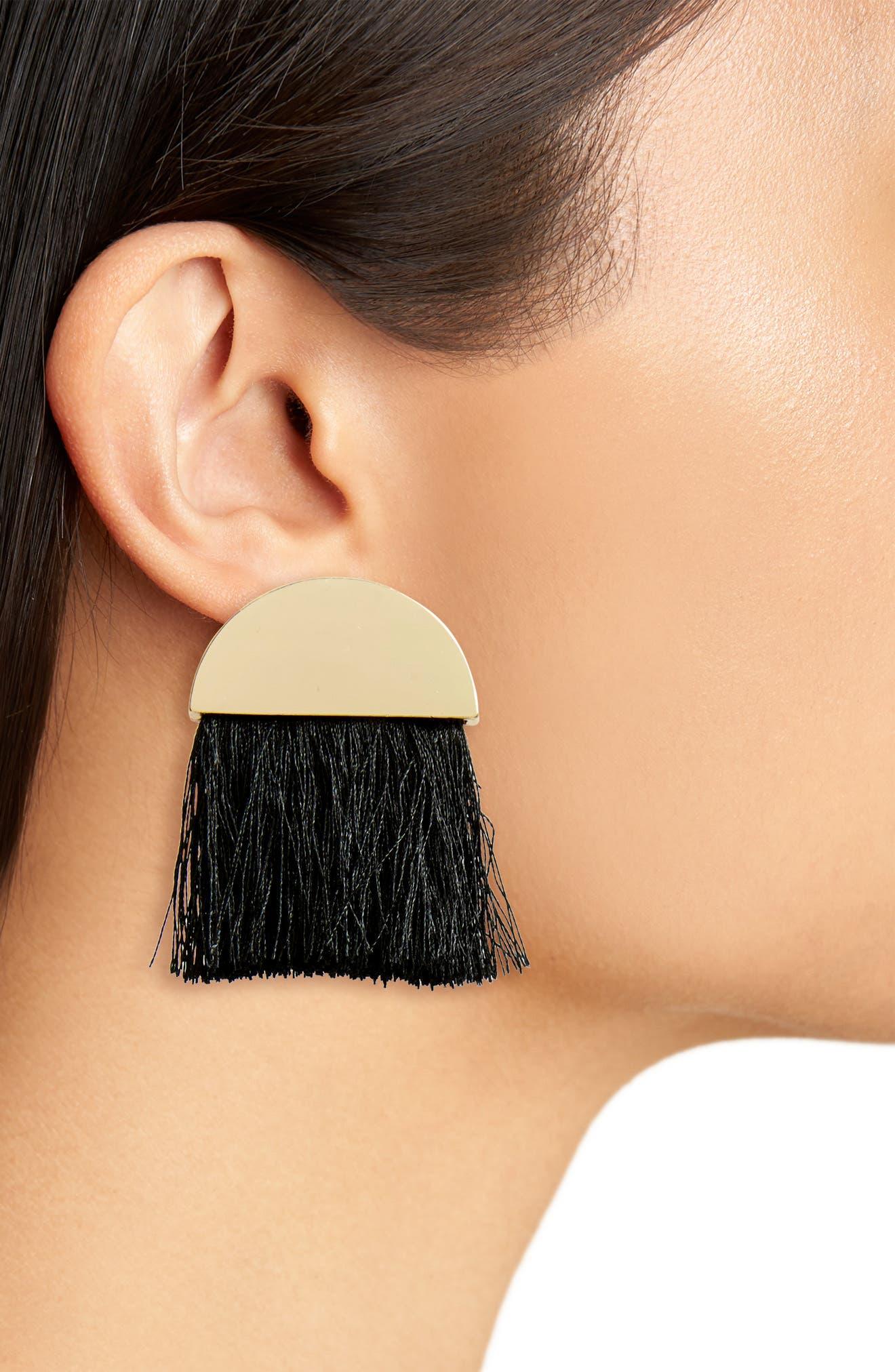 Metal & Tassel Fan Earrings,                             Alternate thumbnail 2, color,                             Gold/ Black