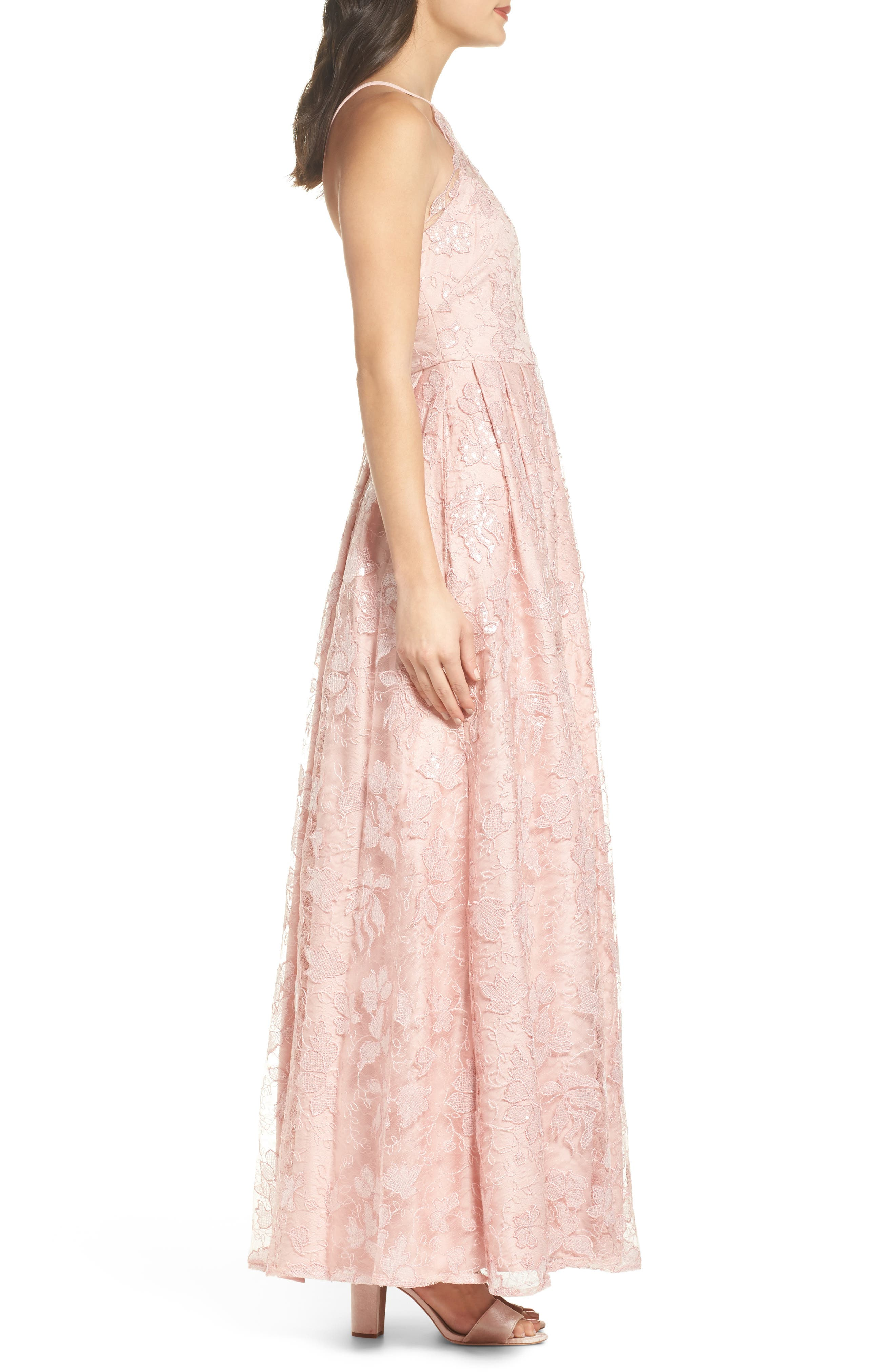 Alternate Image 3  - Morgan & Co. Lace-Up Back Embroidered Gown