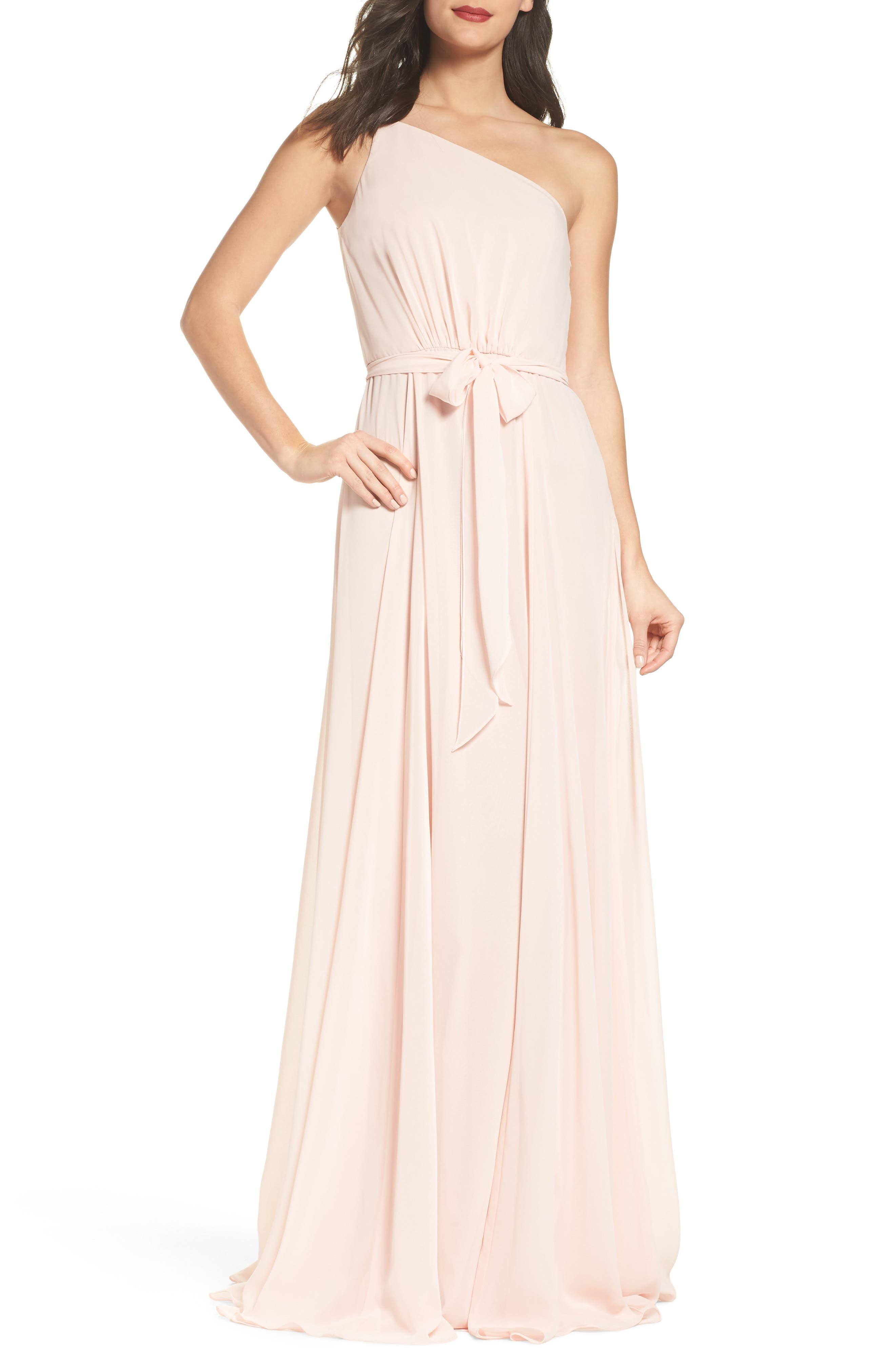 Amsale One-Shoulder Chiffon A-Line Gown