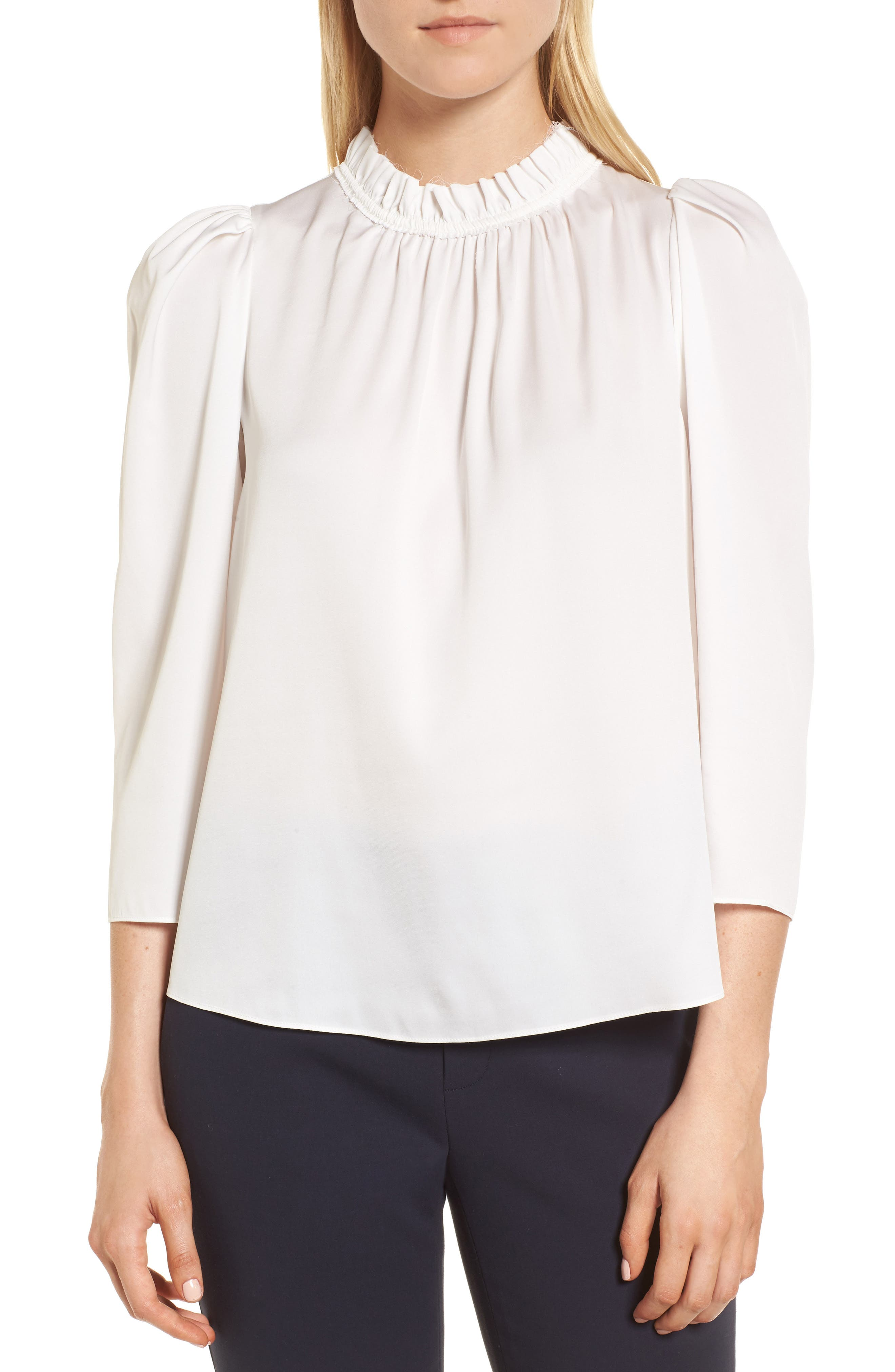 Ruffle Neck Stretch Silk Top,                             Main thumbnail 1, color,                             Ivory Cloud