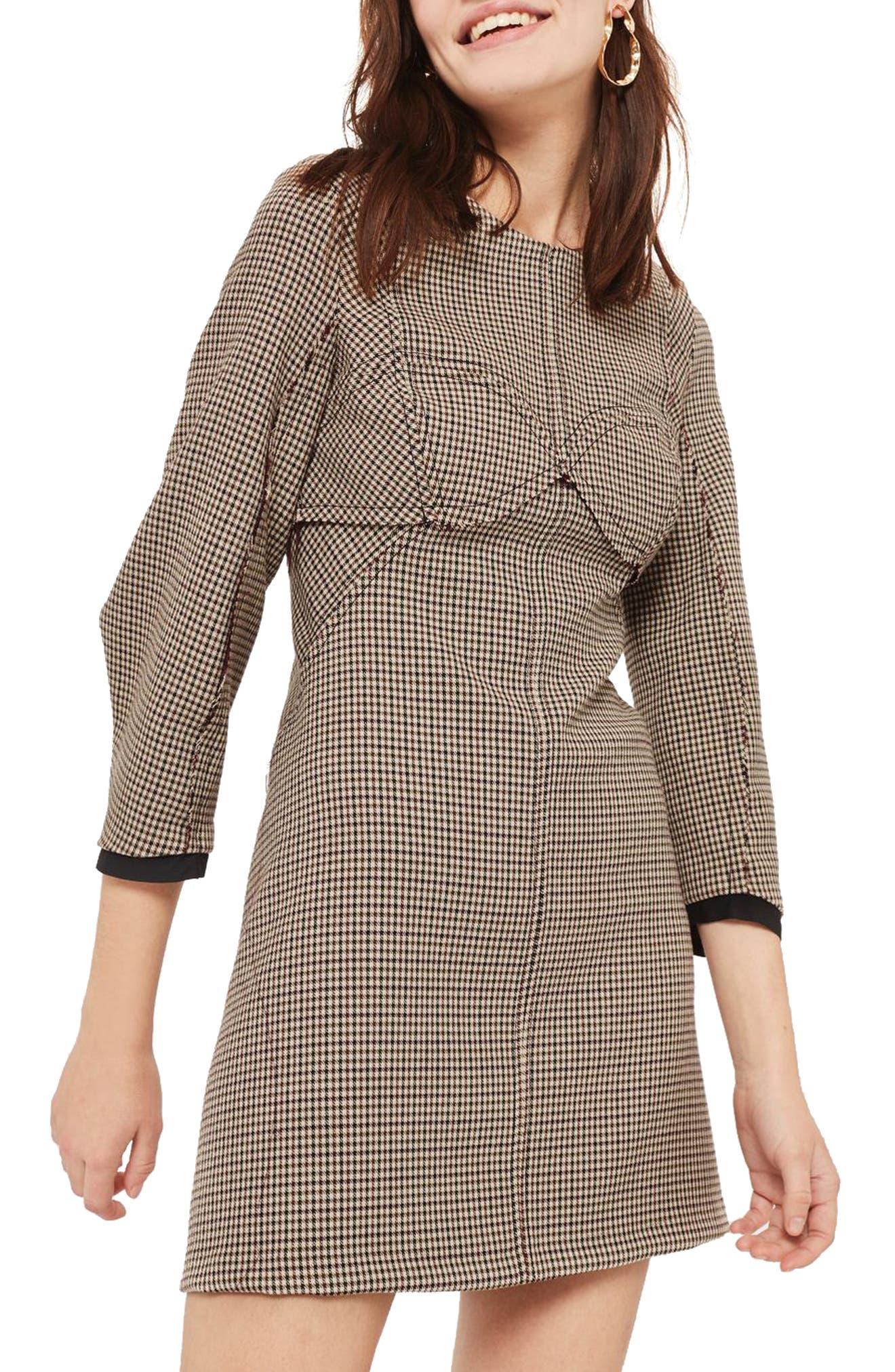 Topstitch Check Shift Dress,                         Main,                         color, Brown Multi
