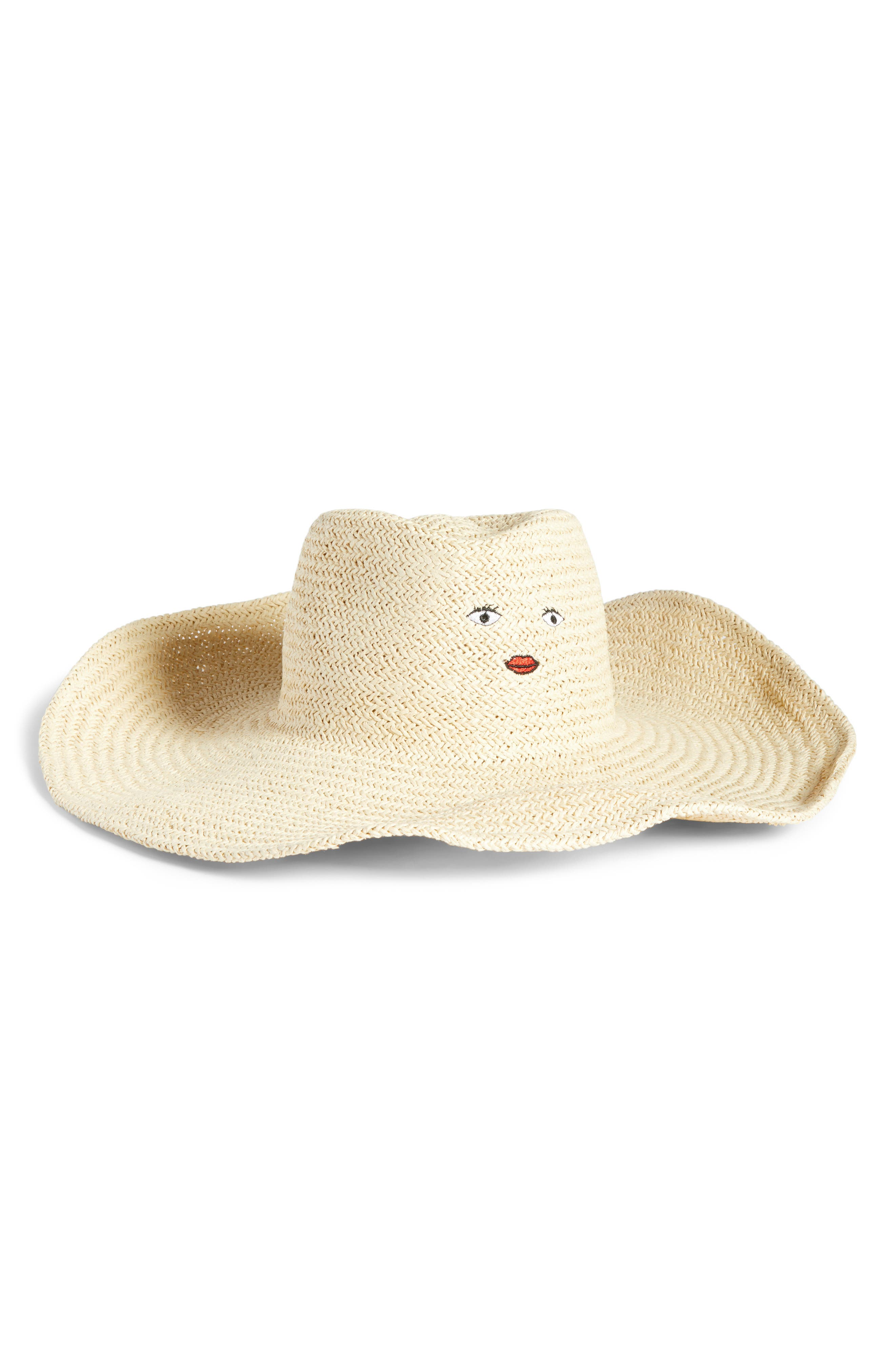 Large Fantasy Embroidered Straw Fedora,                         Main,                         color, Natural